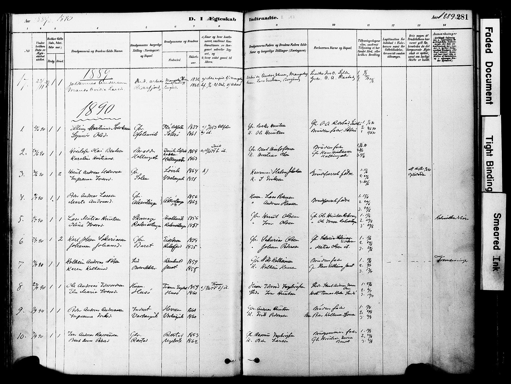 SAT, Ministerialprotokoller, klokkerbøker og fødselsregistre - Møre og Romsdal, 560/L0721: Ministerialbok nr. 560A05, 1878-1917, s. 281