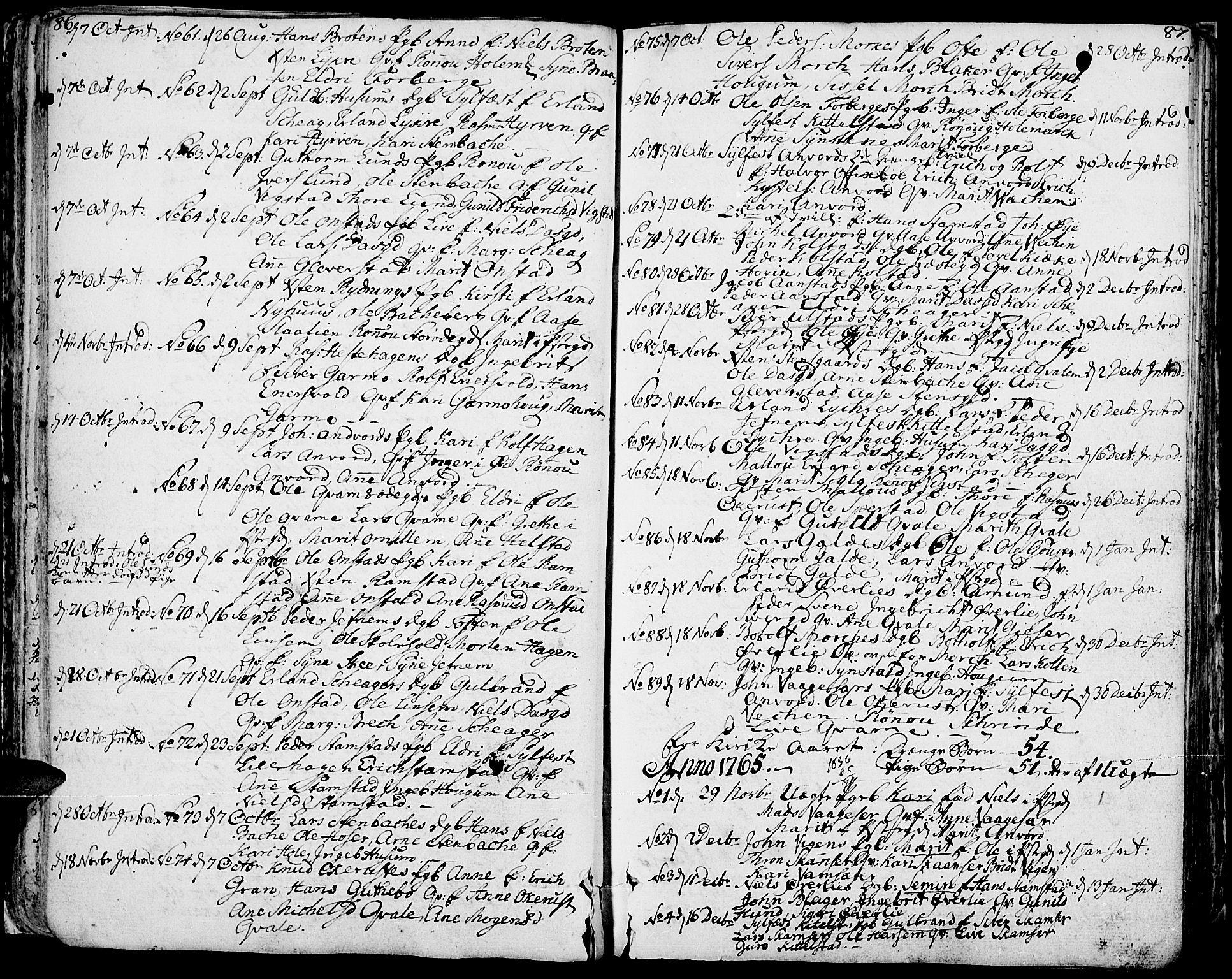 SAH, Lom prestekontor, K/L0002: Ministerialbok nr. 2, 1749-1801, s. 86-87