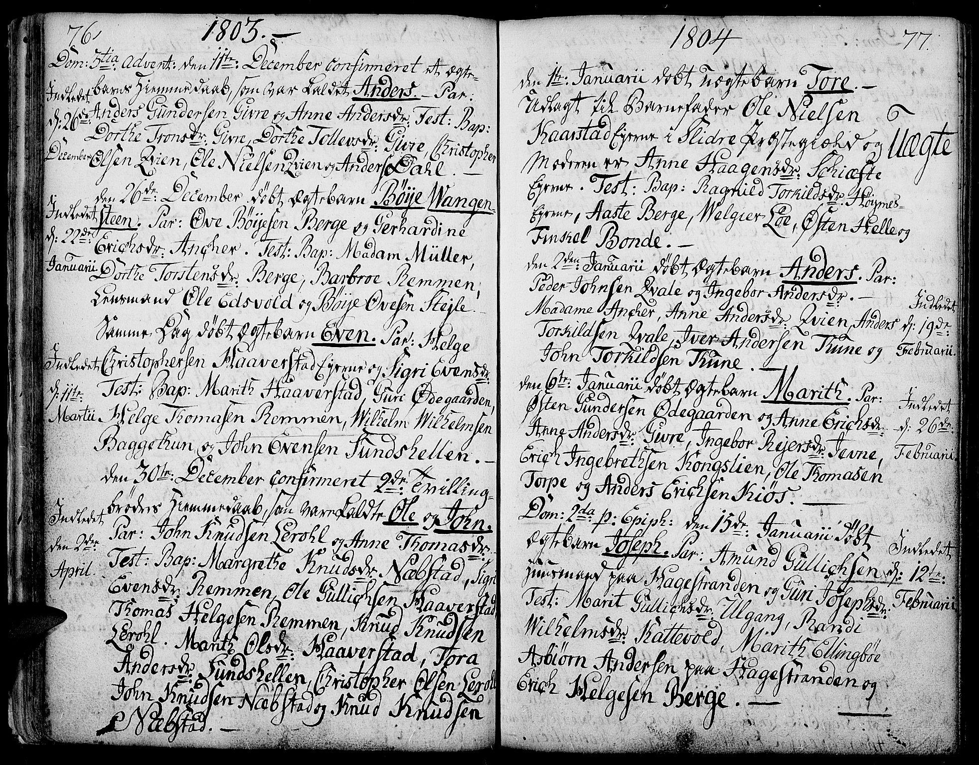 SAH, Vang prestekontor, Valdres, Ministerialbok nr. 2, 1796-1808, s. 76-77