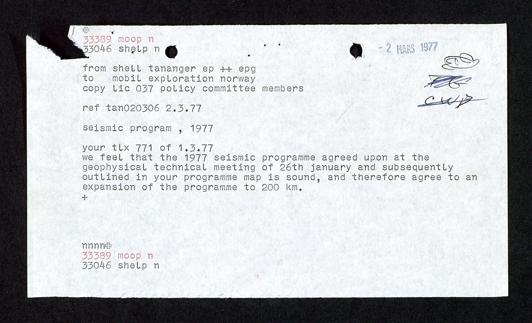 SAST, Pa 1578 - Mobil Exploration Norway Incorporated, D/Da/L0117: S.E. Smith - Sak og korrespondanse, 1973-1977, s. 4
