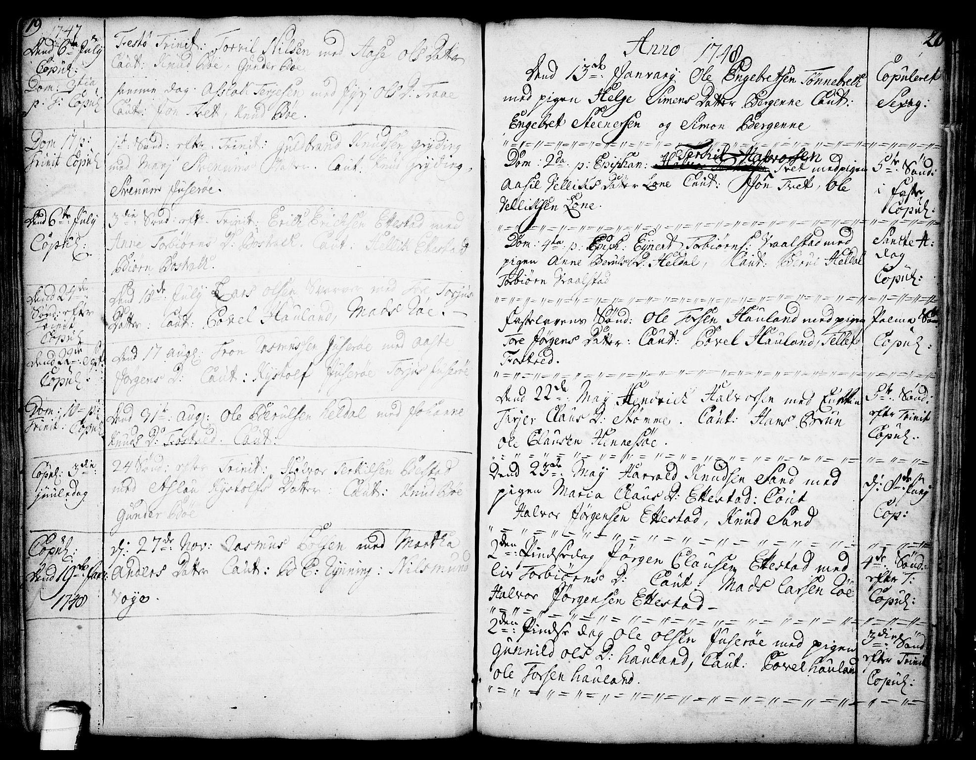 SAKO, Drangedal kirkebøker, F/Fa/L0002: Ministerialbok nr. 2, 1733-1753, s. 19-20