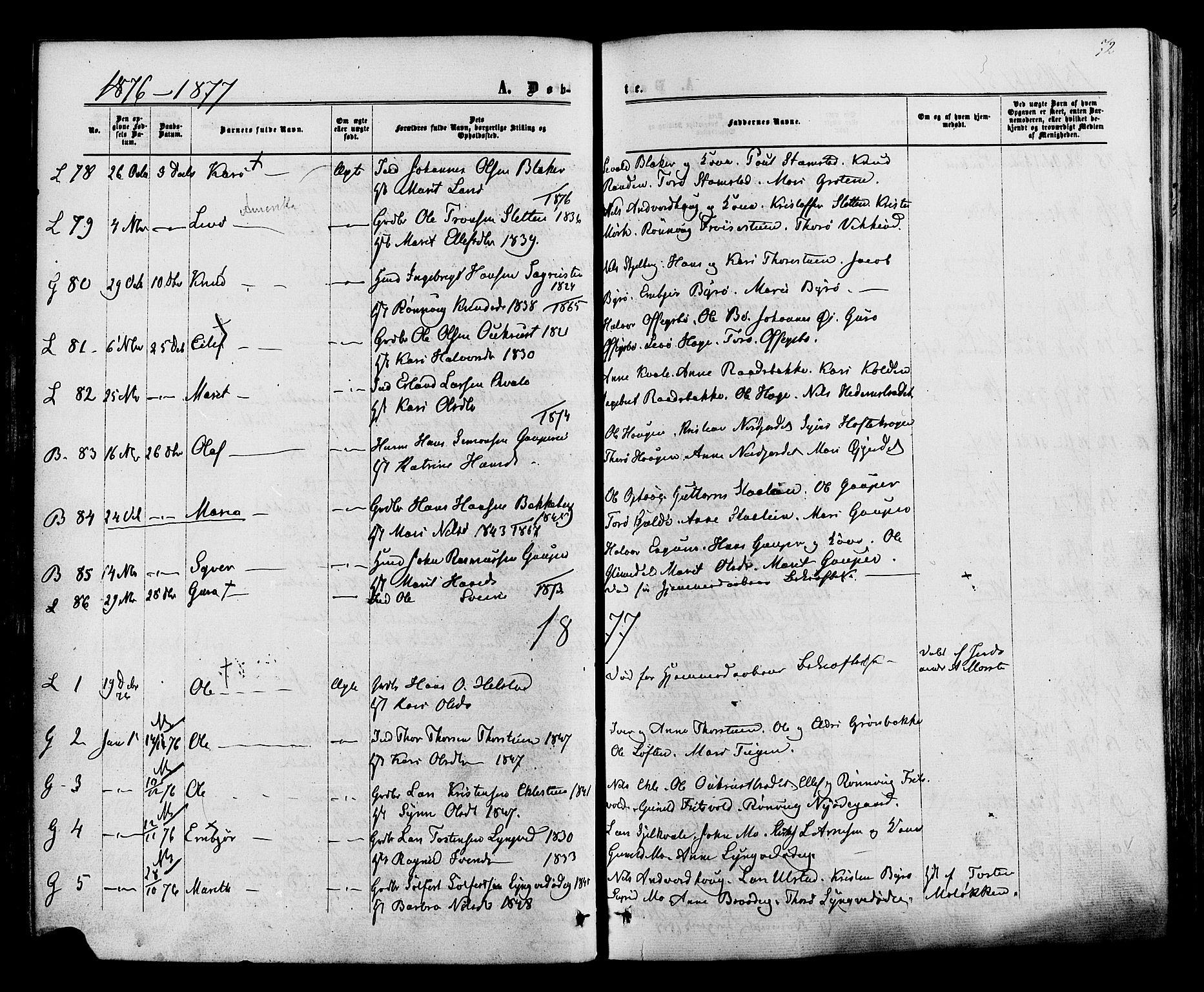SAH, Lom prestekontor, K/L0007: Ministerialbok nr. 7, 1863-1884, s. 72