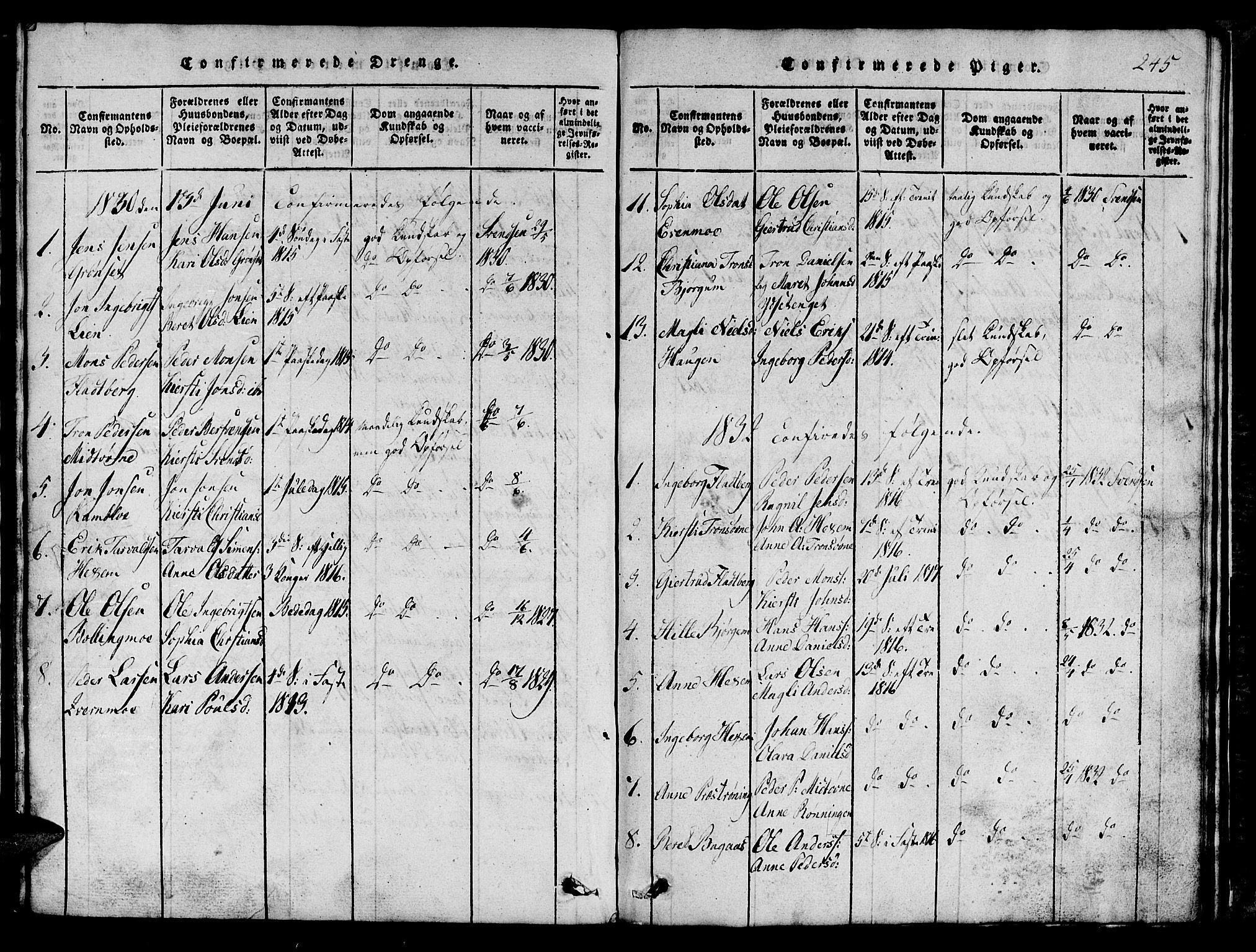 SAT, Ministerialprotokoller, klokkerbøker og fødselsregistre - Sør-Trøndelag, 685/L0976: Klokkerbok nr. 685C01, 1817-1878, s. 245