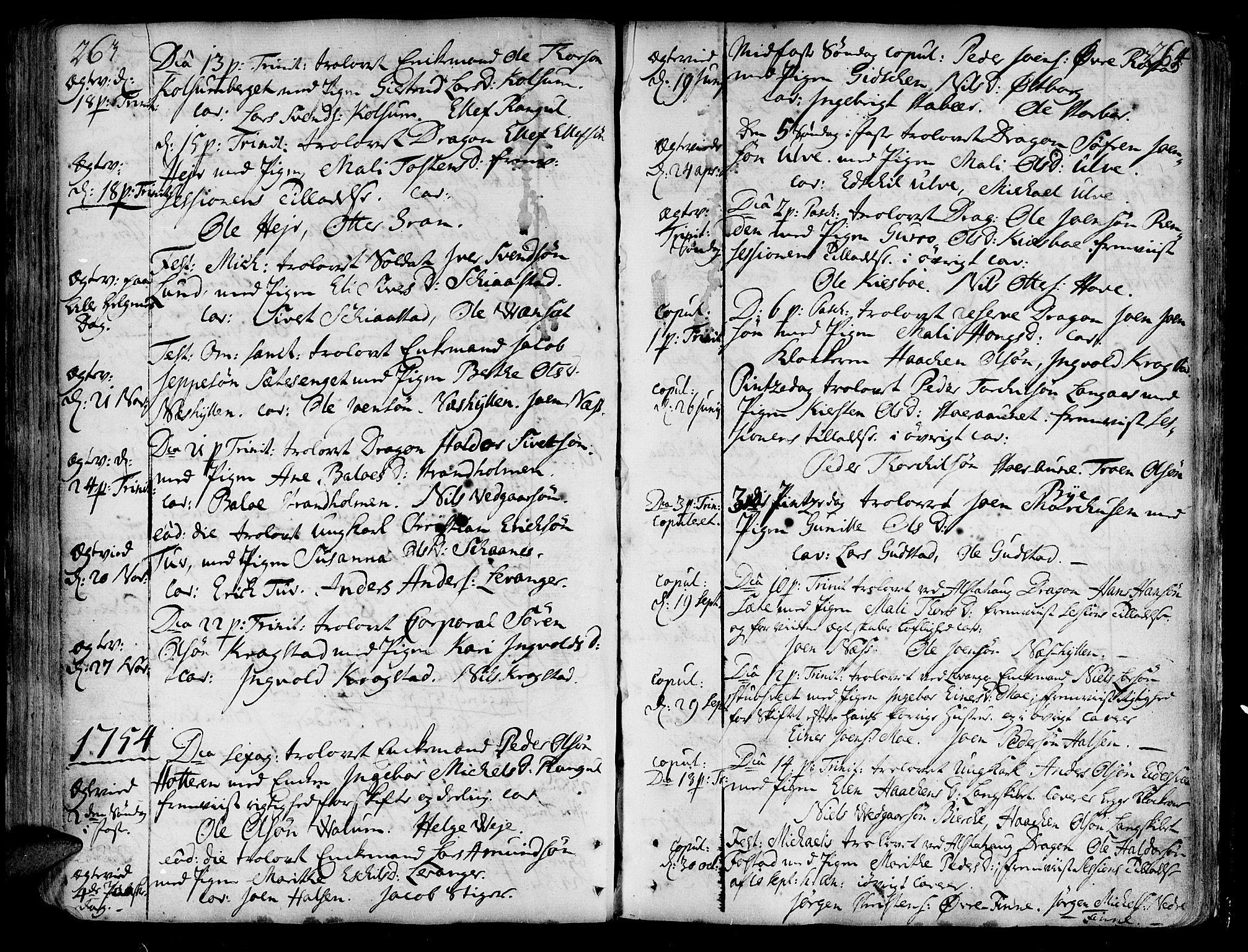 SAT, Ministerialprotokoller, klokkerbøker og fødselsregistre - Nord-Trøndelag, 717/L0141: Ministerialbok nr. 717A01, 1747-1803, s. 263-264