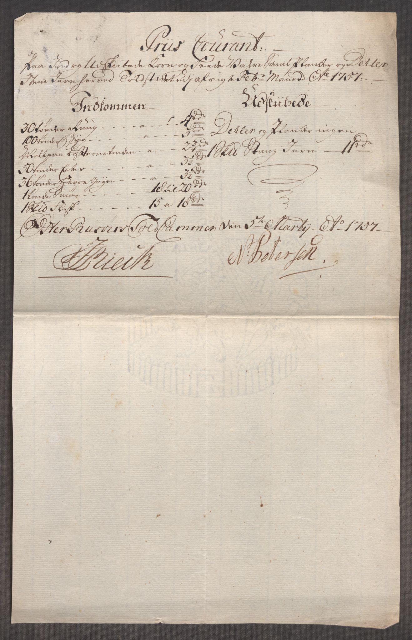 RA, Rentekammeret inntil 1814, Realistisk ordnet avdeling, Oe/L0005: [Ø1]: Priskuranter, 1753-1757, s. 877