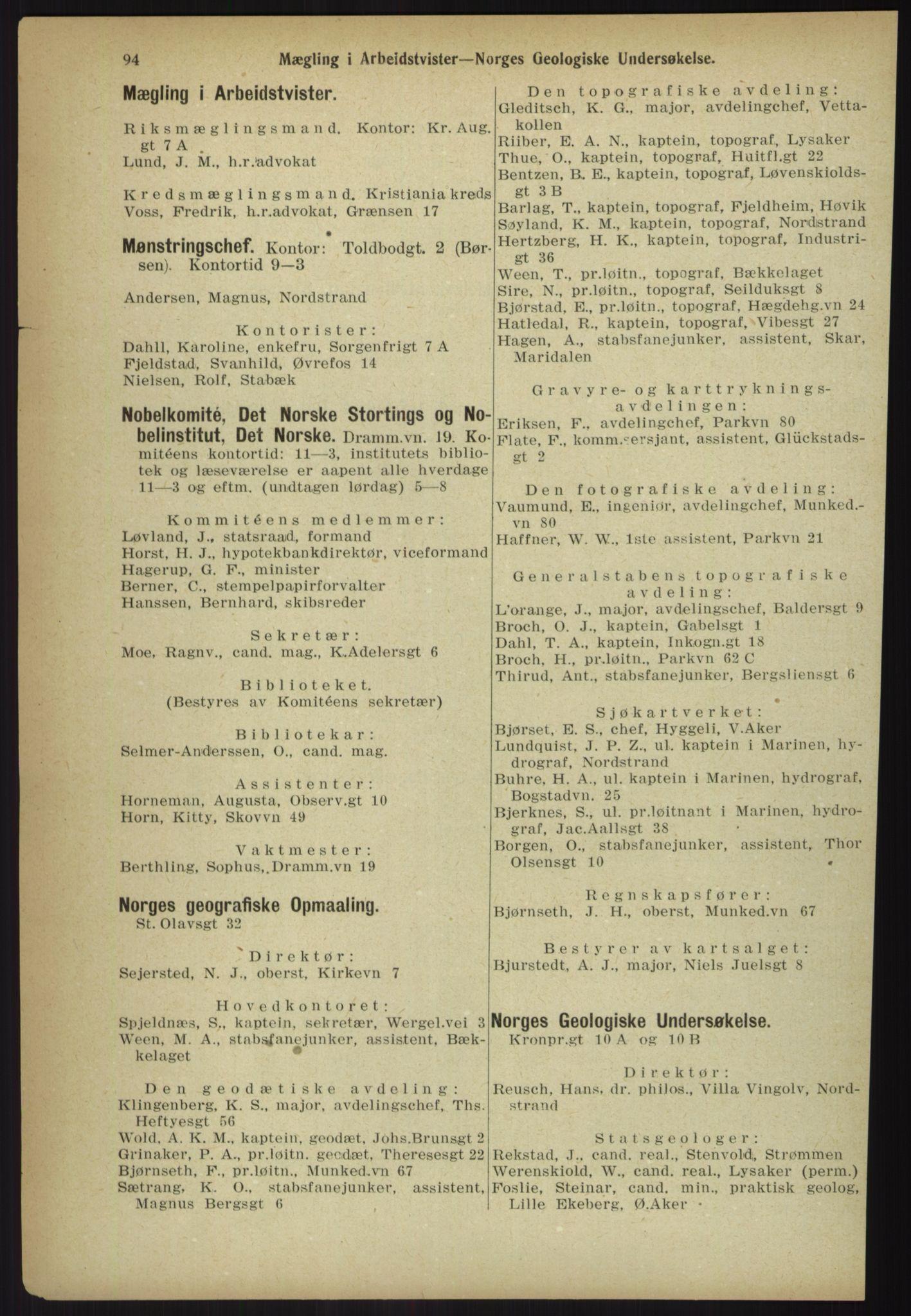 RA, Kristiania adressebok (publikasjon)*, 1918, s. 94
