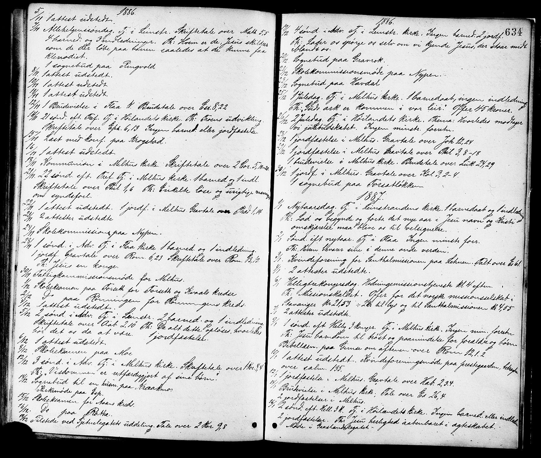 SAT, Ministerialprotokoller, klokkerbøker og fødselsregistre - Sør-Trøndelag, 691/L1079: Ministerialbok nr. 691A11, 1873-1886, s. 634