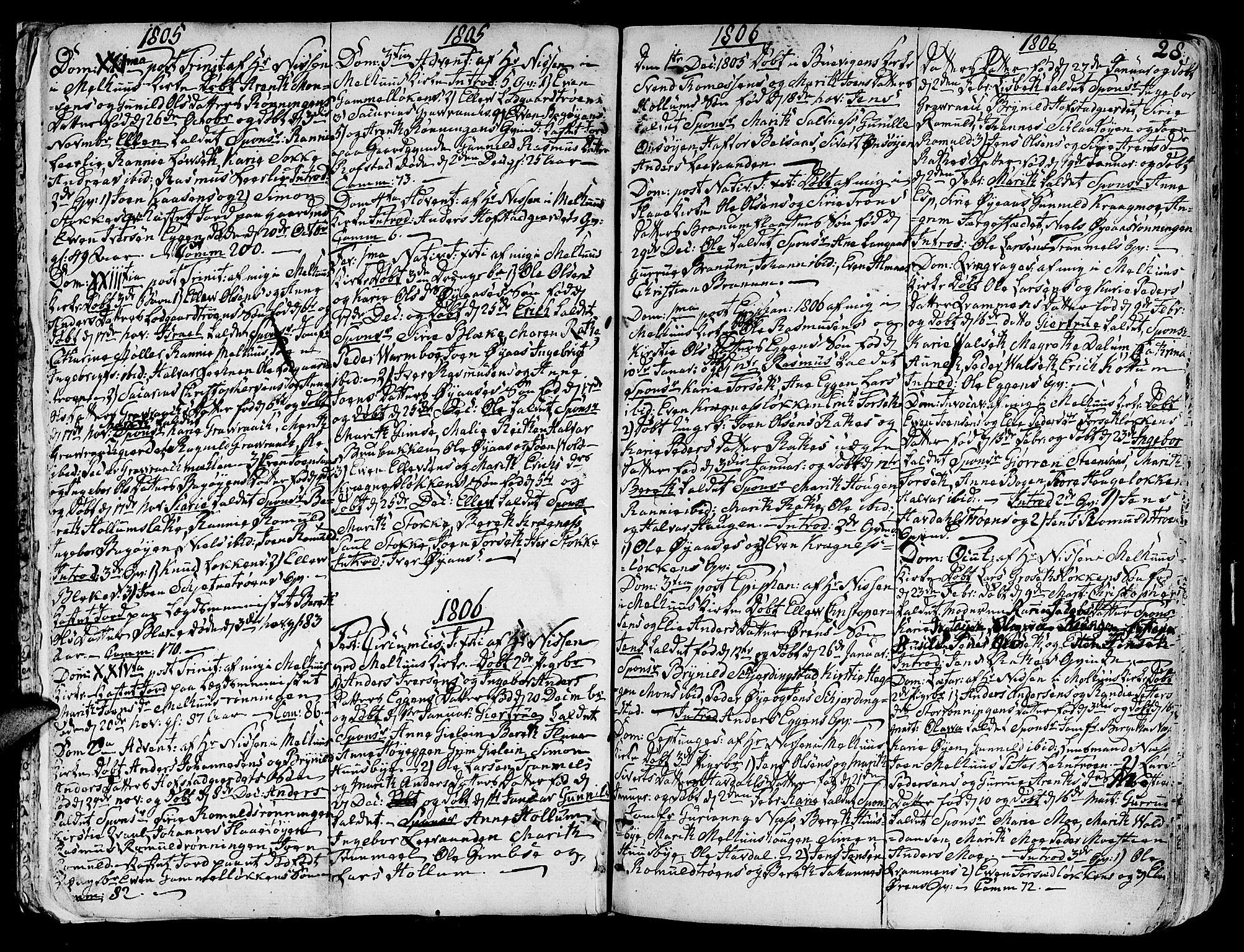SAT, Ministerialprotokoller, klokkerbøker og fødselsregistre - Sør-Trøndelag, 691/L1061: Ministerialbok nr. 691A02 /1, 1768-1815, s. 28