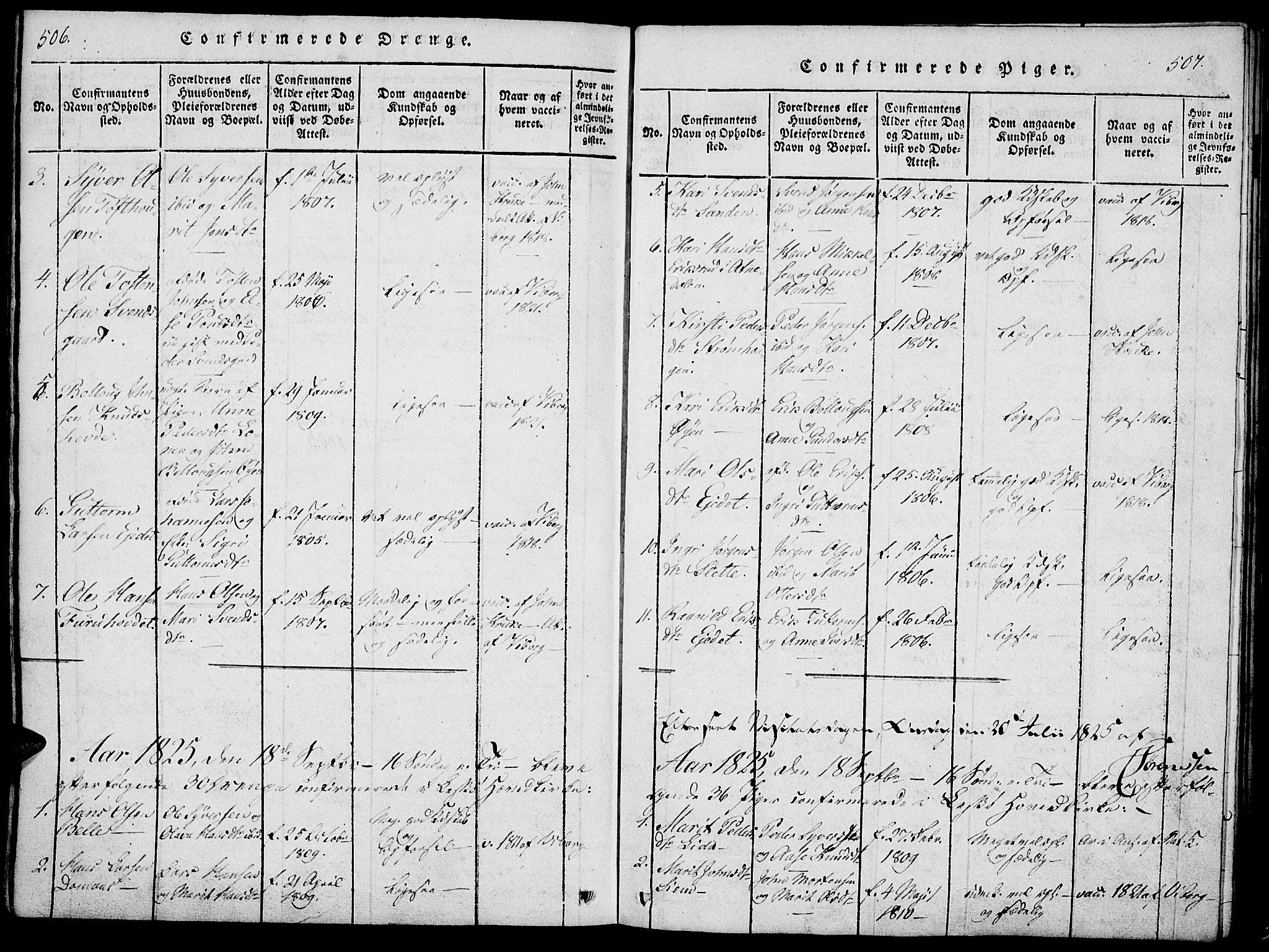 SAH, Lesja prestekontor, Ministerialbok nr. 4, 1820-1829, s. 506-507