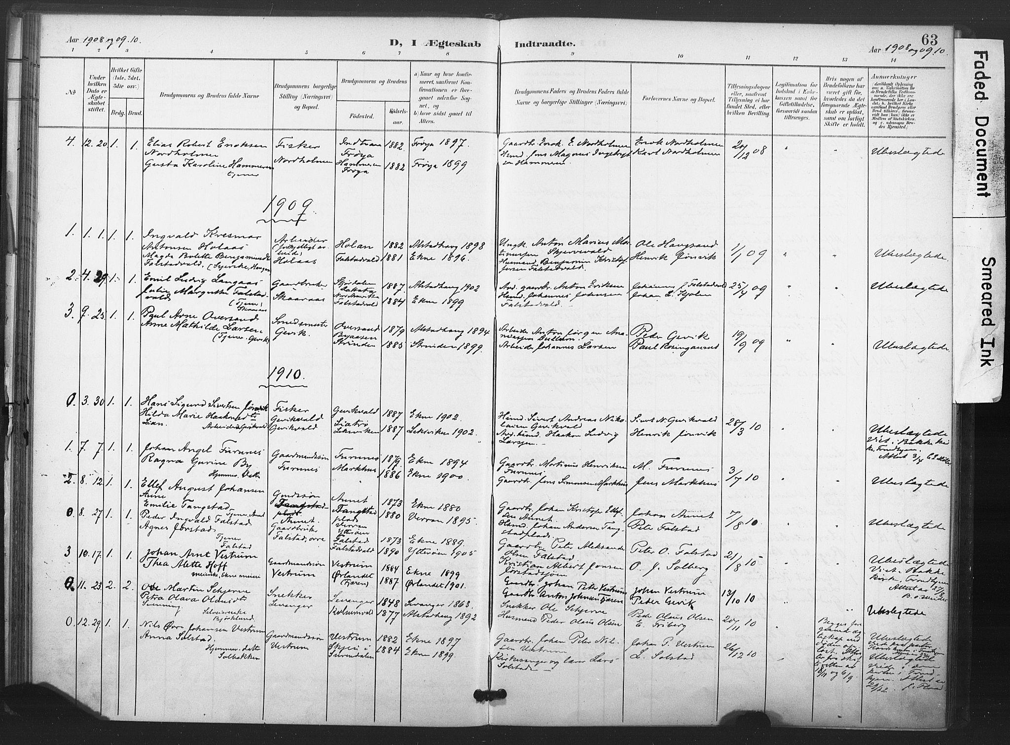 SAT, Ministerialprotokoller, klokkerbøker og fødselsregistre - Nord-Trøndelag, 719/L0179: Ministerialbok nr. 719A02, 1901-1923, s. 63