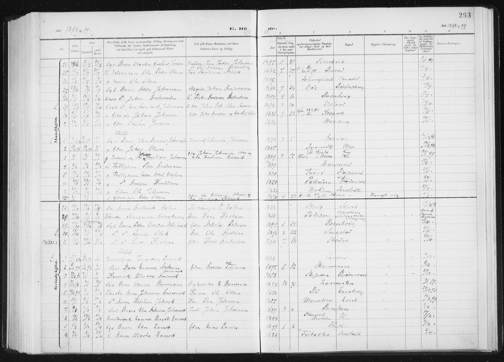 SAT, Ministerialprotokoller, klokkerbøker og fødselsregistre - Sør-Trøndelag, 647/L0635: Ministerialbok nr. 647A02, 1896-1911, s. 263