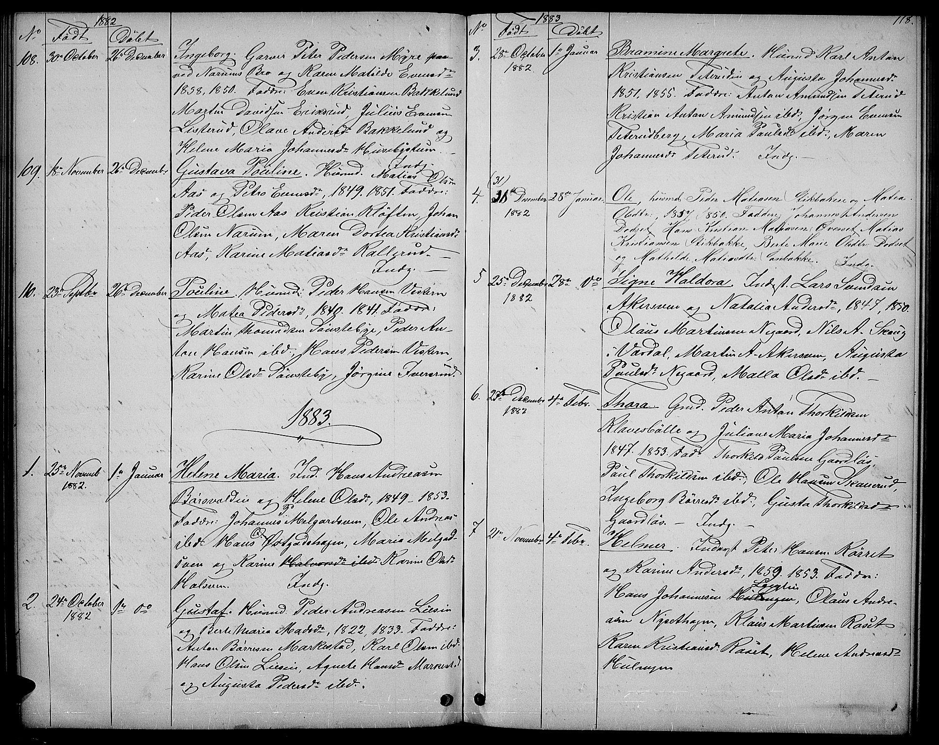 SAH, Vestre Toten prestekontor, H/Ha/Hab/L0006: Klokkerbok nr. 6, 1870-1887, s. 118