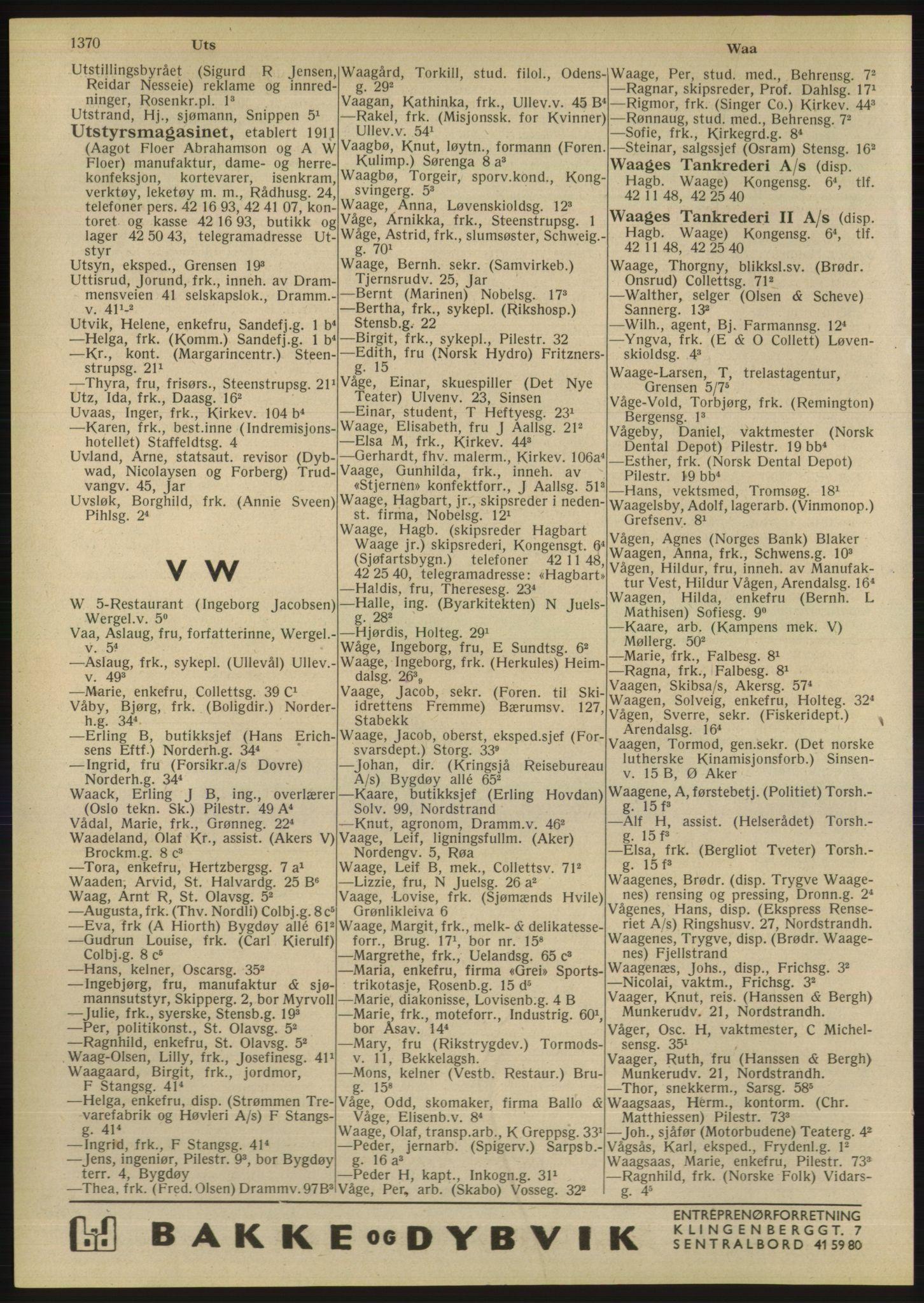 RA, Oslo adressebok (publikasjon)*, 1947, s. 1370