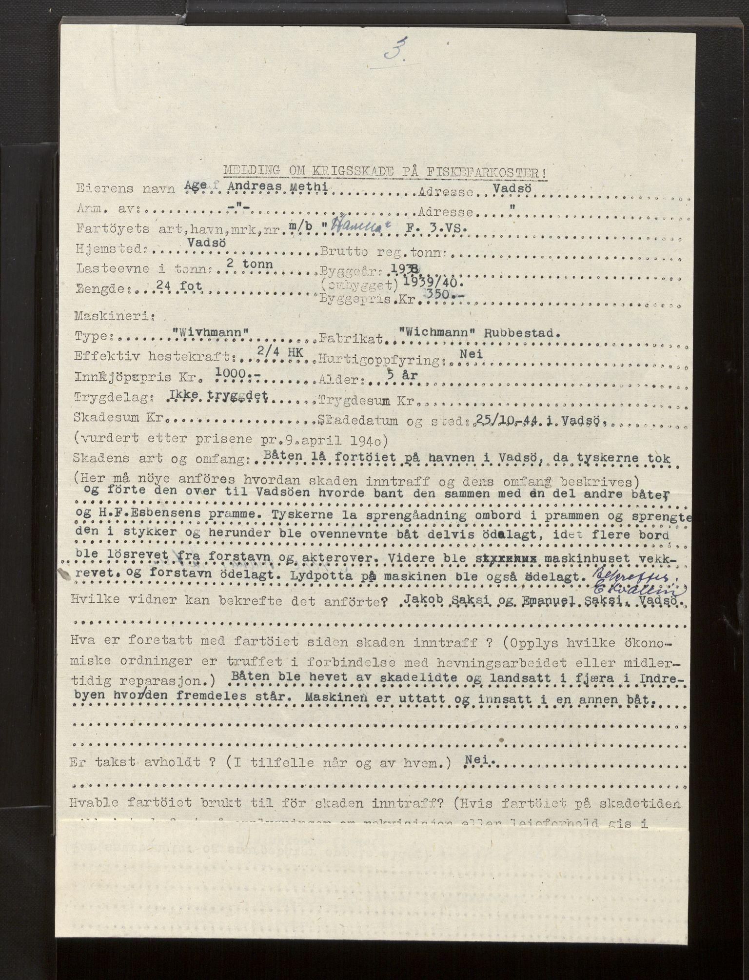 SAB, Fiskeridirektoratet - 1 Adm. ledelse - 13 Båtkontoret, La/L0042: Statens krigsforsikring for fiskeflåten, 1936-1971, s. 440