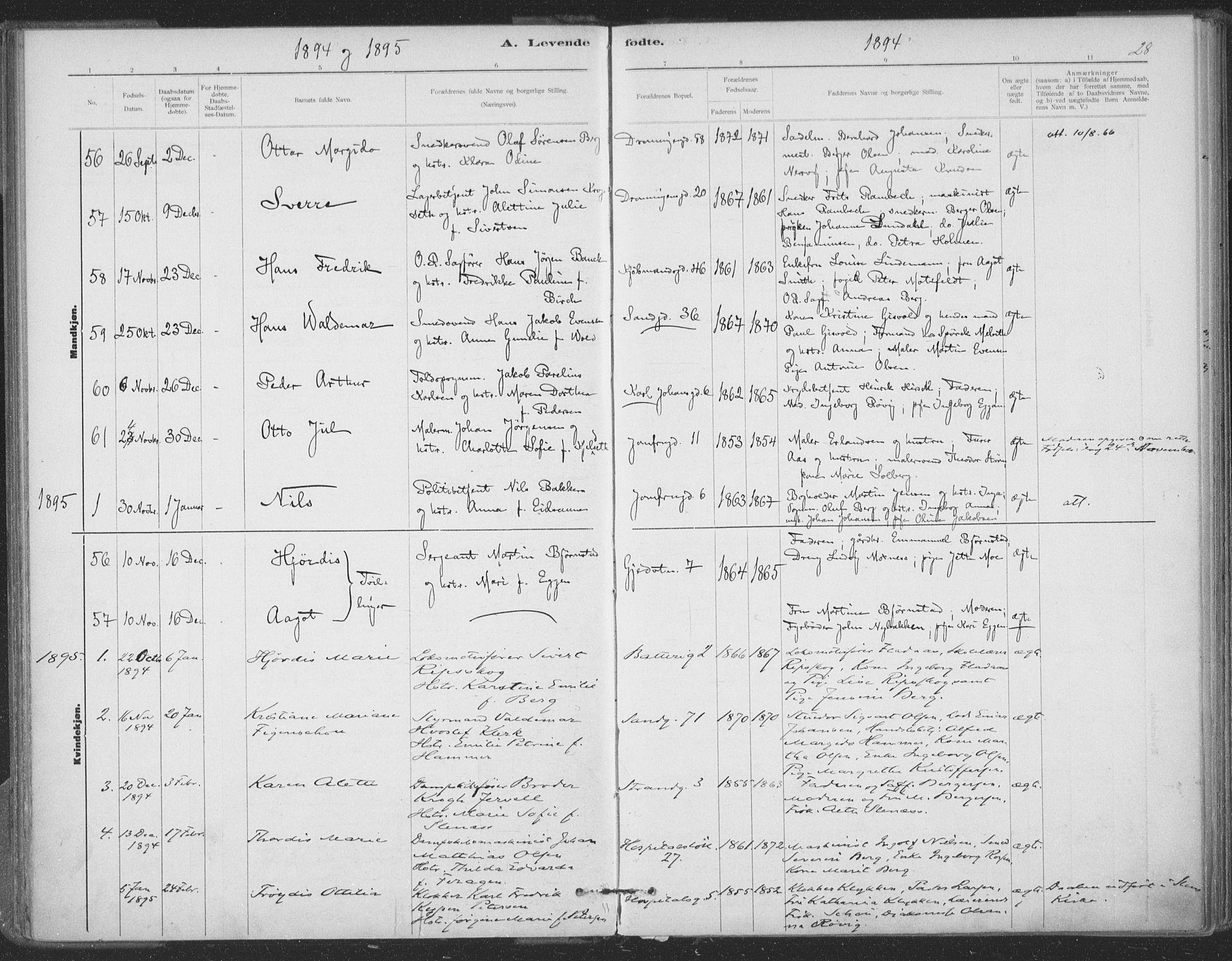 SAT, Ministerialprotokoller, klokkerbøker og fødselsregistre - Sør-Trøndelag, 602/L0122: Ministerialbok nr. 602A20, 1892-1908, s. 28