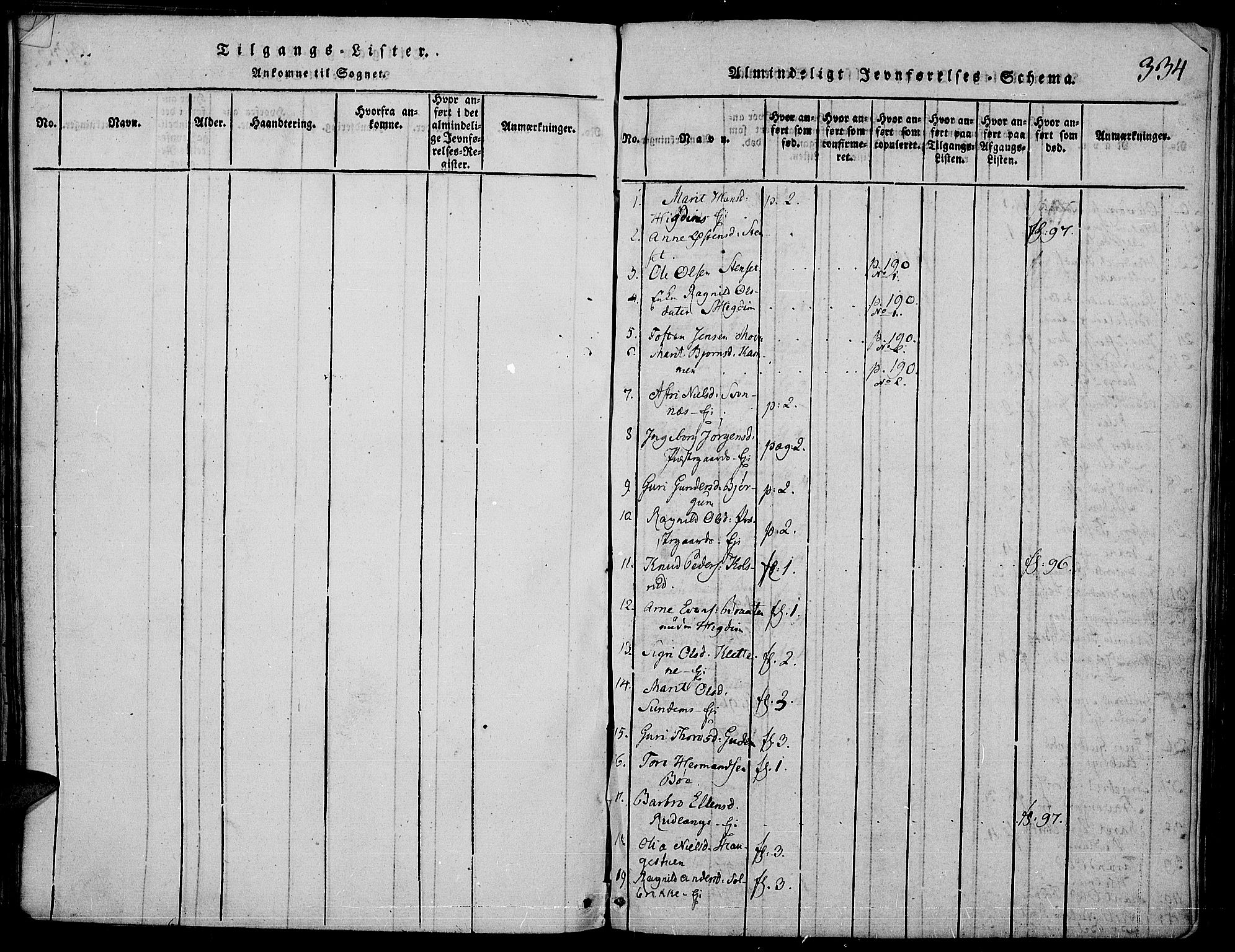 SAH, Nord-Aurdal prestekontor, Ministerialbok nr. 2, 1816-1828, s. 334