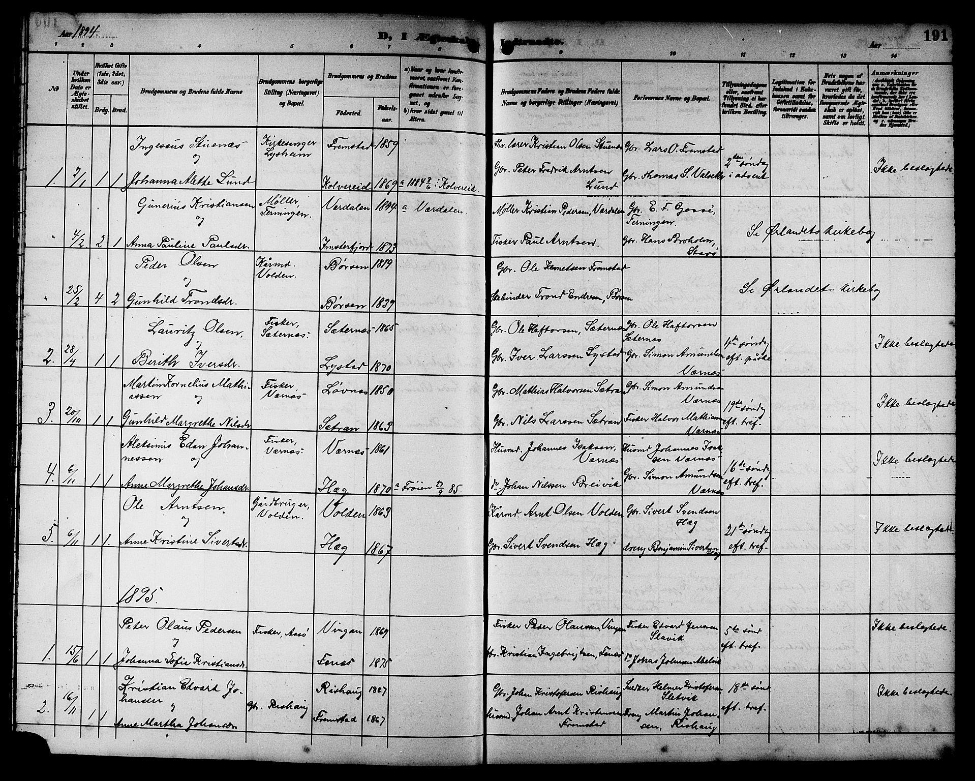 SAT, Ministerialprotokoller, klokkerbøker og fødselsregistre - Sør-Trøndelag, 662/L0757: Klokkerbok nr. 662C02, 1892-1918, s. 191