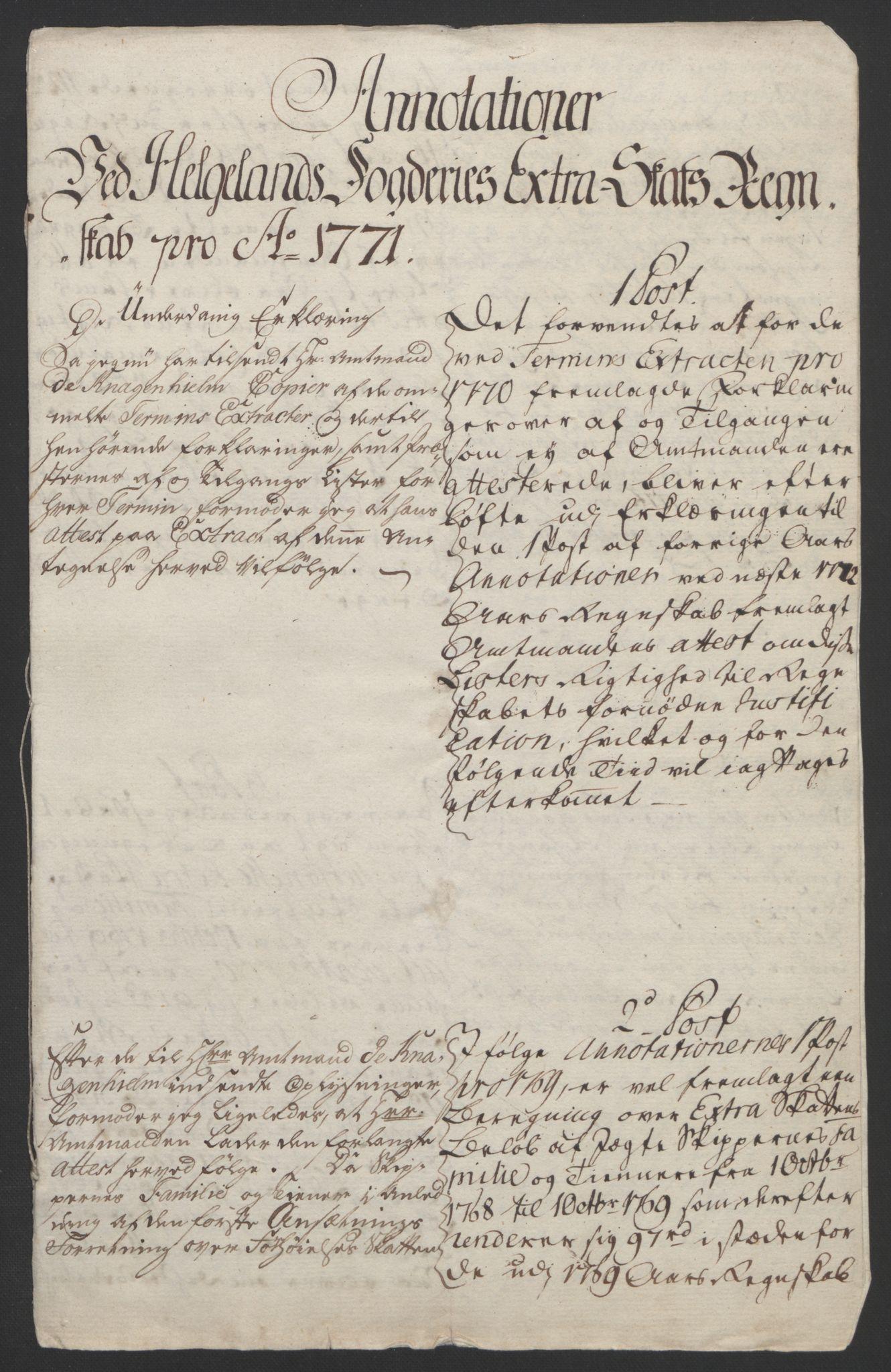 RA, Rentekammeret inntil 1814, Reviderte regnskaper, Fogderegnskap, R65/L4573: Ekstraskatten Helgeland, 1762-1772, s. 649