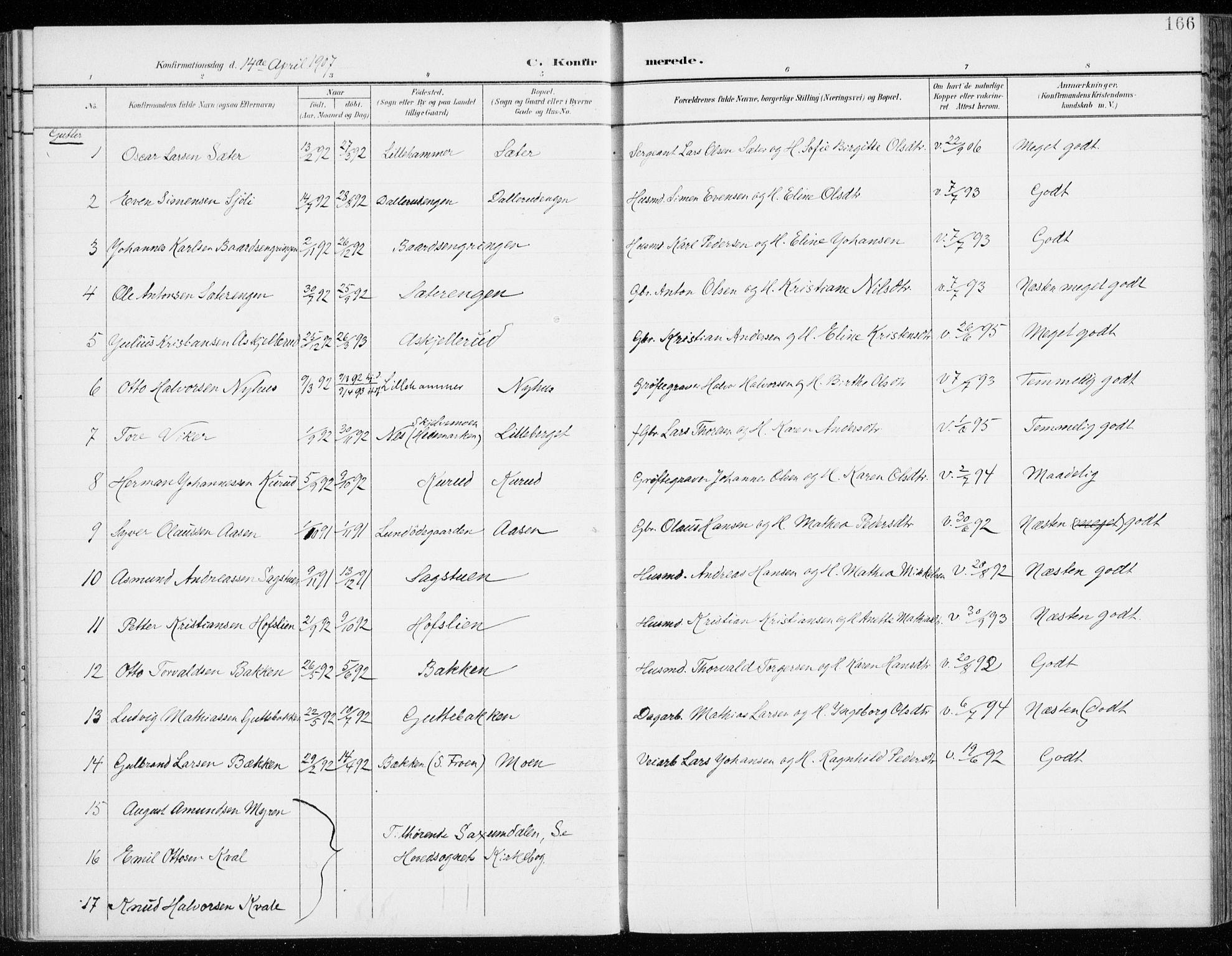 SAH, Fåberg prestekontor, H/Ha/Haa/L0011: Ministerialbok nr. 11, 1899-1913, s. 166