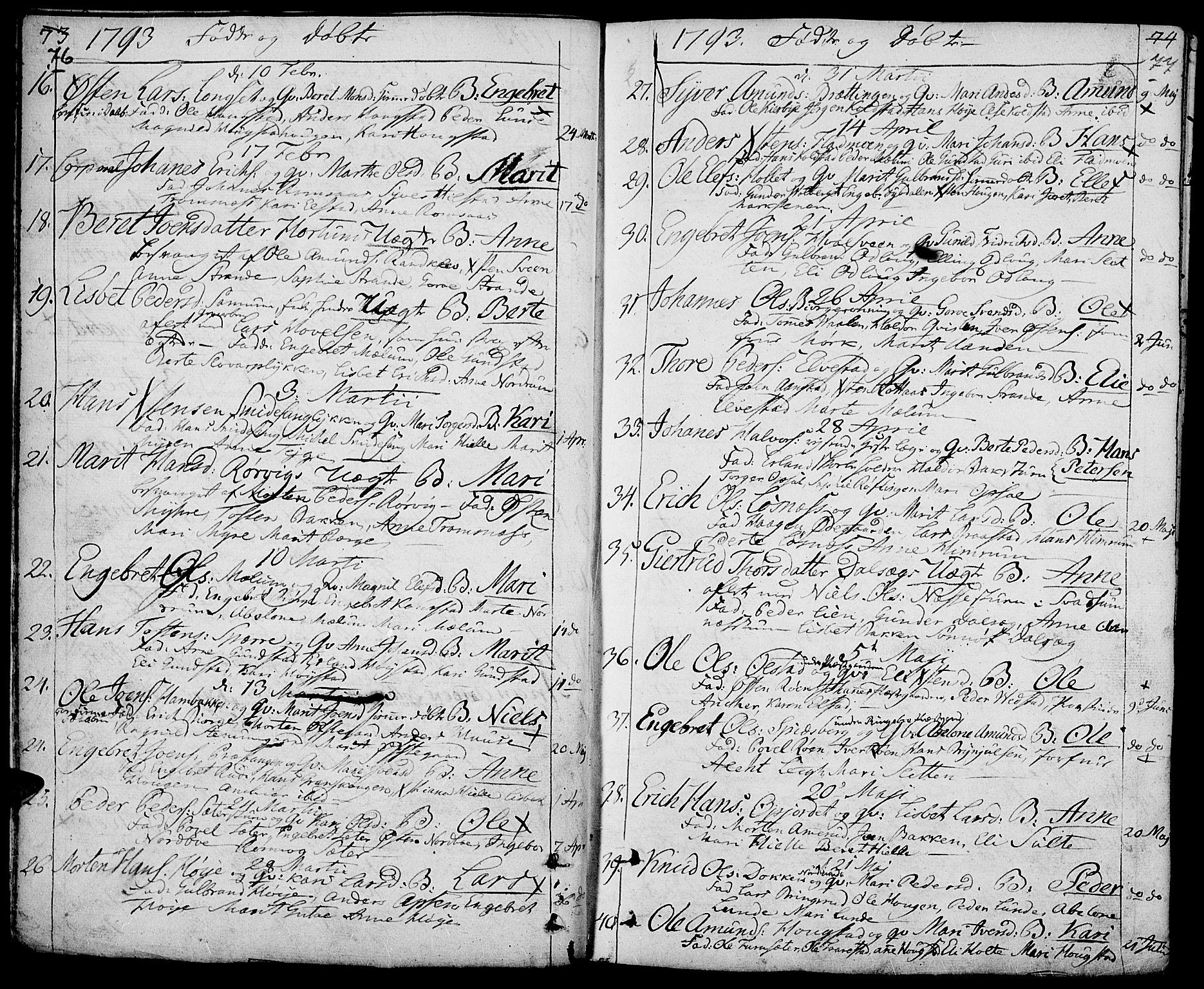 SAH, Ringebu prestekontor, Ministerialbok nr. 3, 1781-1820, s. 76-77