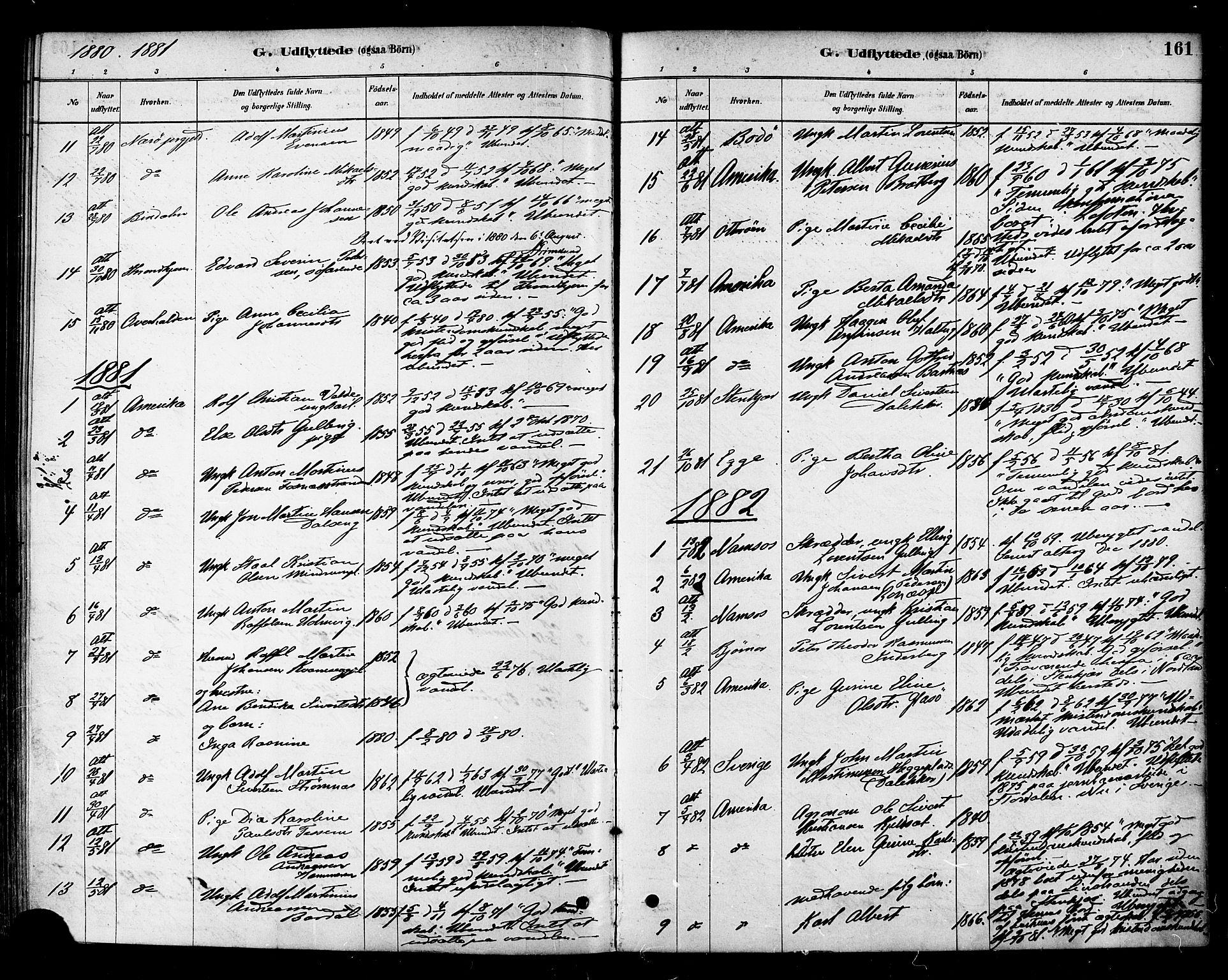 SAT, Ministerialprotokoller, klokkerbøker og fødselsregistre - Nord-Trøndelag, 741/L0395: Ministerialbok nr. 741A09, 1878-1888, s. 161