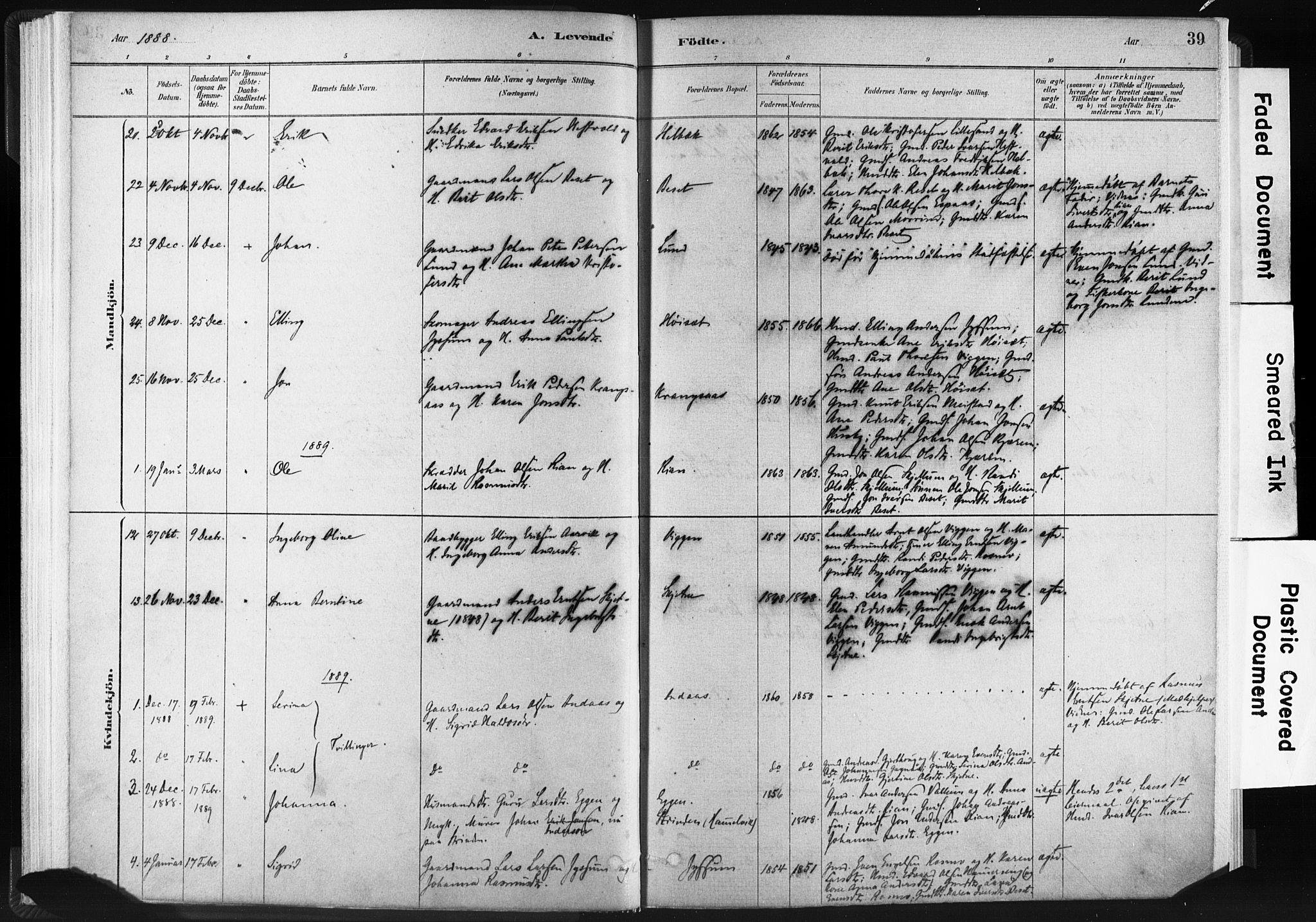 SAT, Ministerialprotokoller, klokkerbøker og fødselsregistre - Sør-Trøndelag, 665/L0773: Ministerialbok nr. 665A08, 1879-1905, s. 39