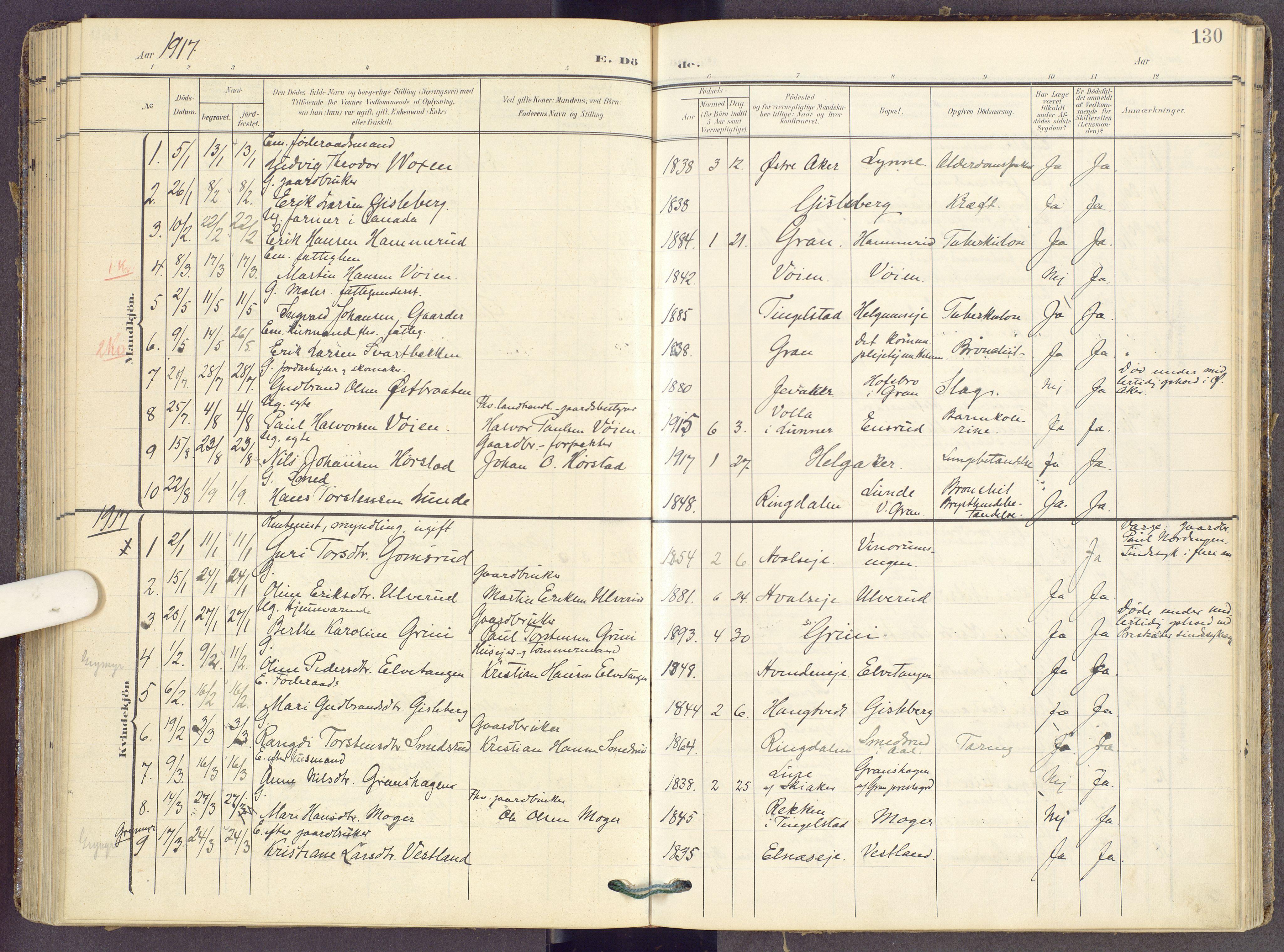 SAH, Gran prestekontor, Ministerialbok nr. 22, 1908-1918, s. 130