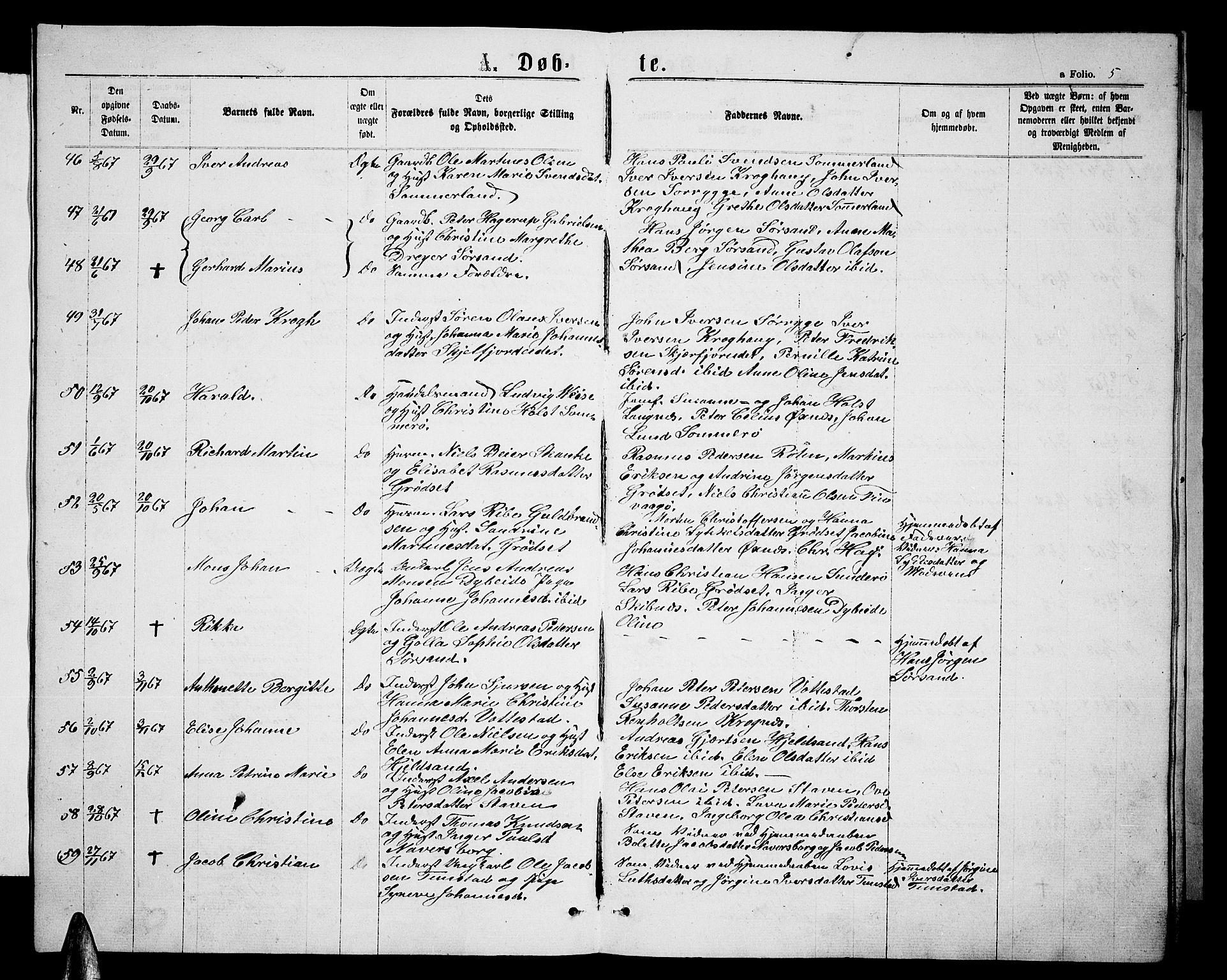 SAT, Ministerialprotokoller, klokkerbøker og fødselsregistre - Nordland, 893/L1348: Klokkerbok nr. 893C03, 1867-1877, s. 5