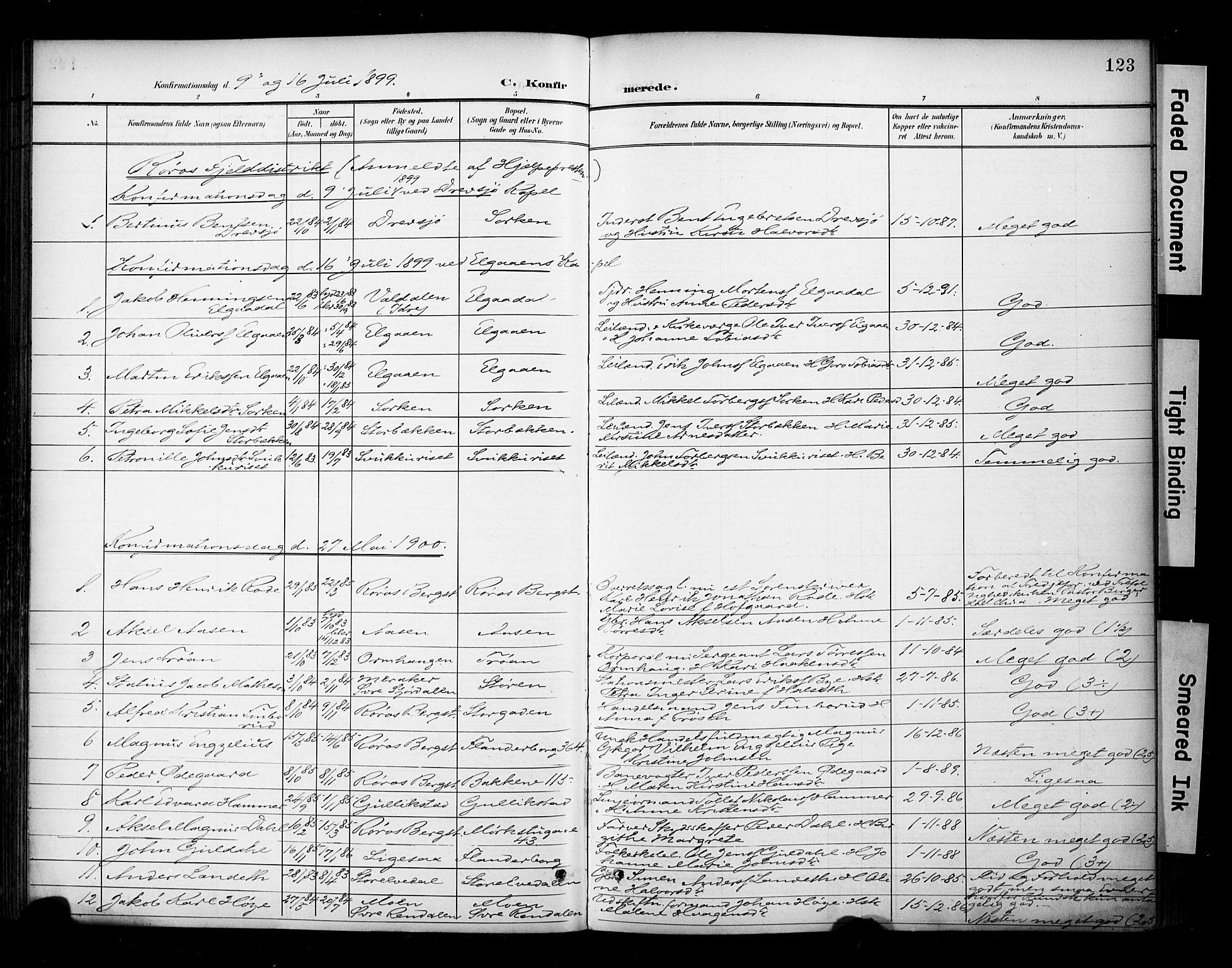 SAT, Ministerialprotokoller, klokkerbøker og fødselsregistre - Sør-Trøndelag, 681/L0936: Ministerialbok nr. 681A14, 1899-1908, s. 123