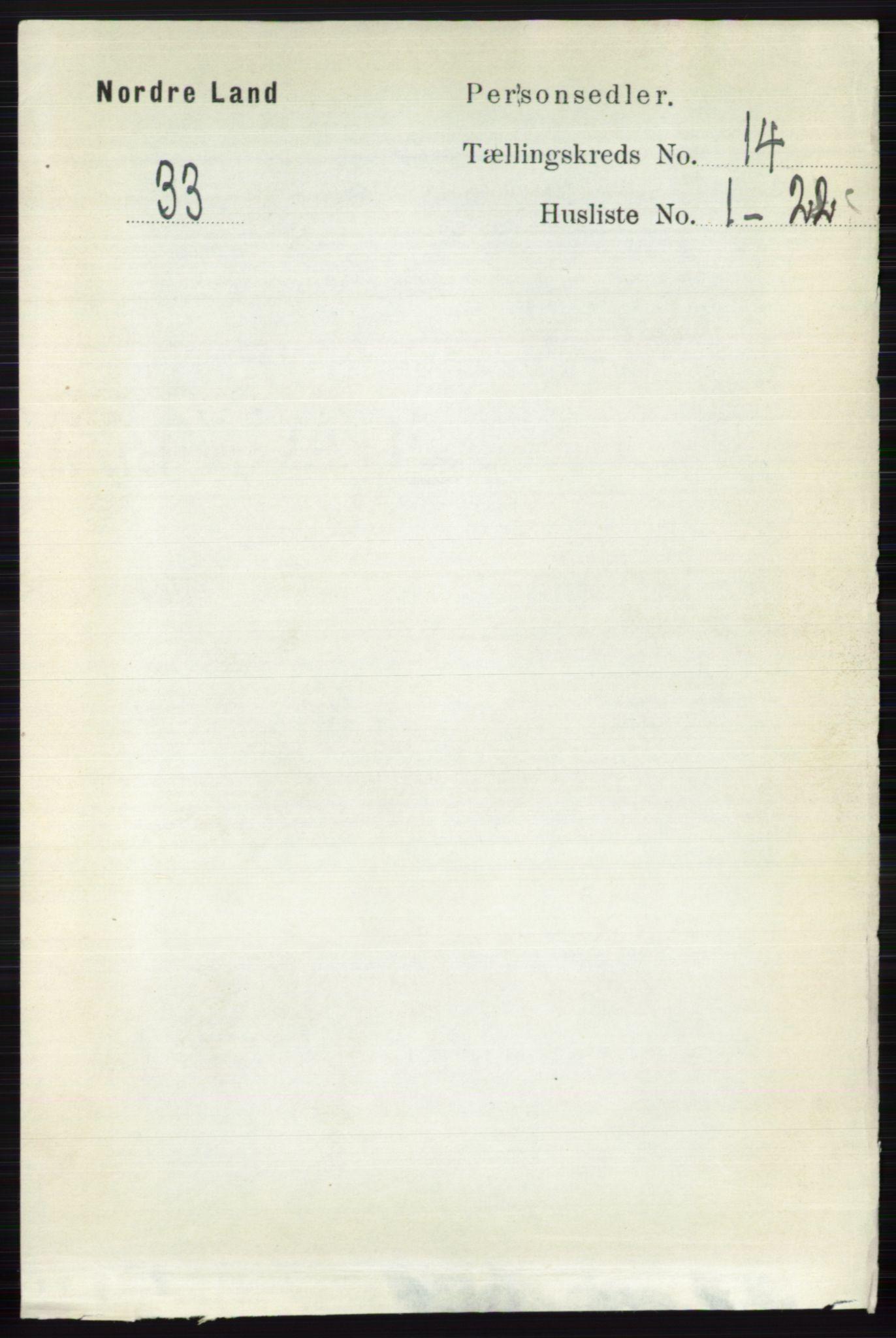 RA, Folketelling 1891 for 0538 Nordre Land herred, 1891, s. 3627