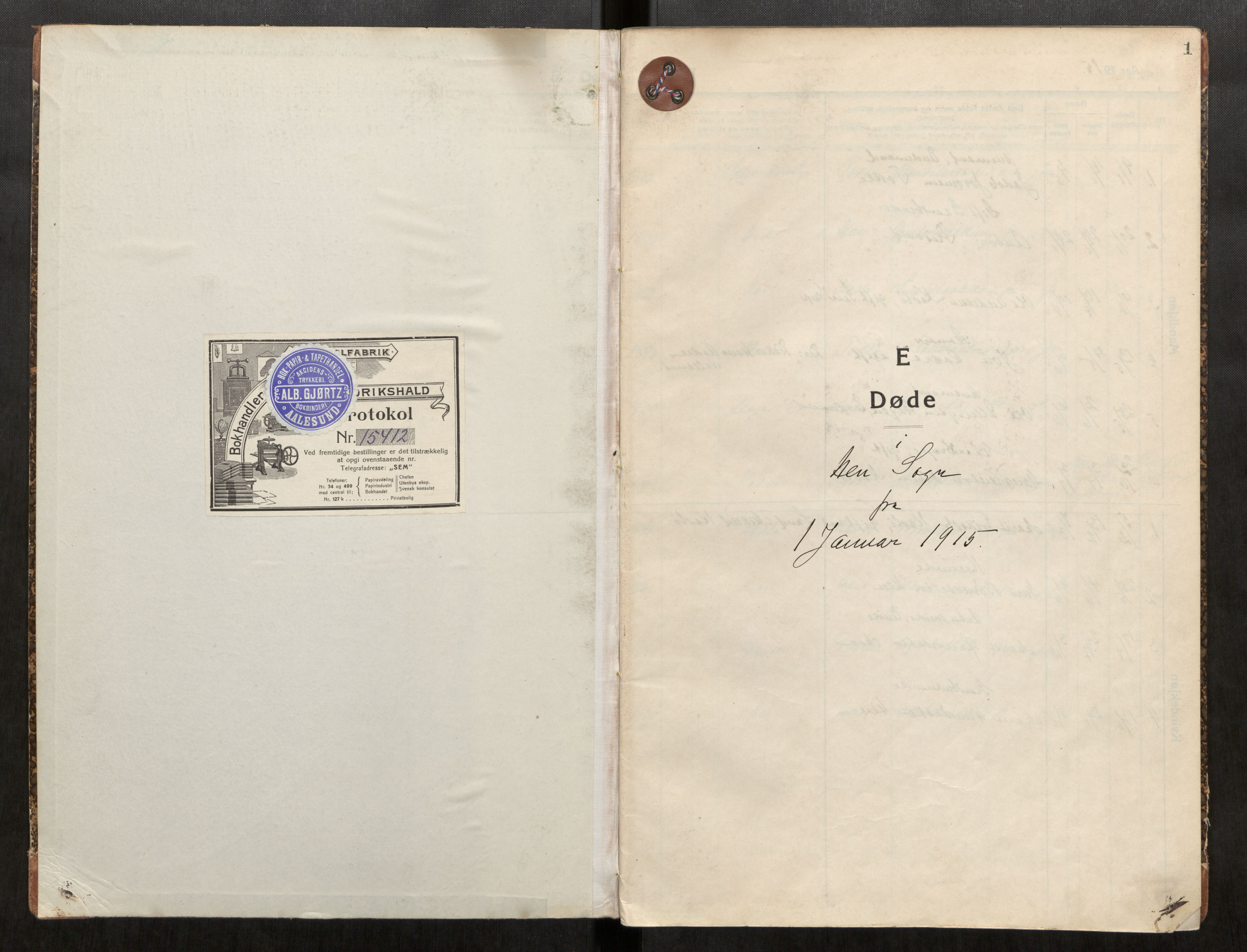 SAT, Grytten sokneprestkontor, Ministerialbok nr. 545A05, 1915-1921, s. 1