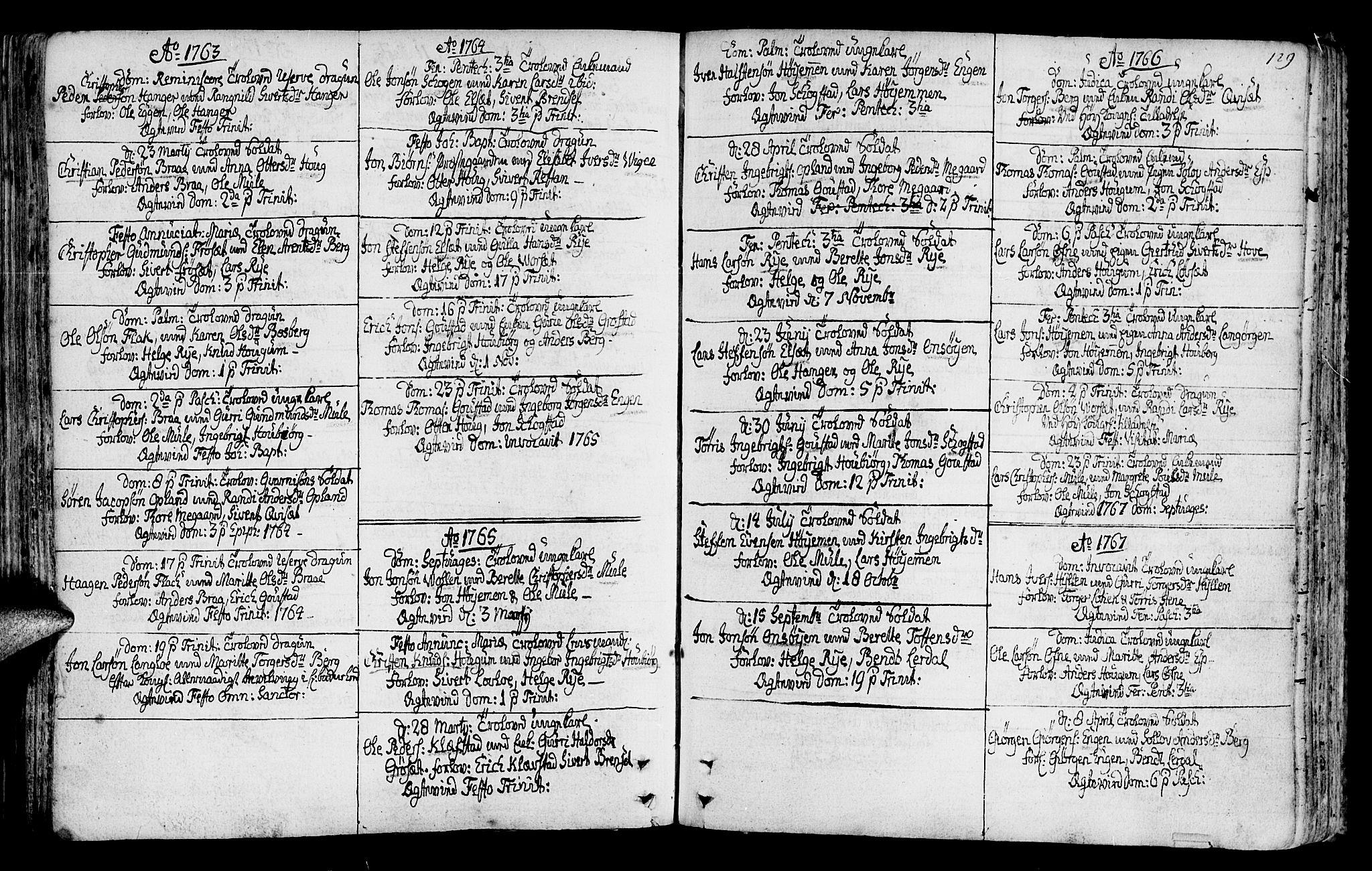 SAT, Ministerialprotokoller, klokkerbøker og fødselsregistre - Sør-Trøndelag, 612/L0370: Ministerialbok nr. 612A04, 1754-1802, s. 129