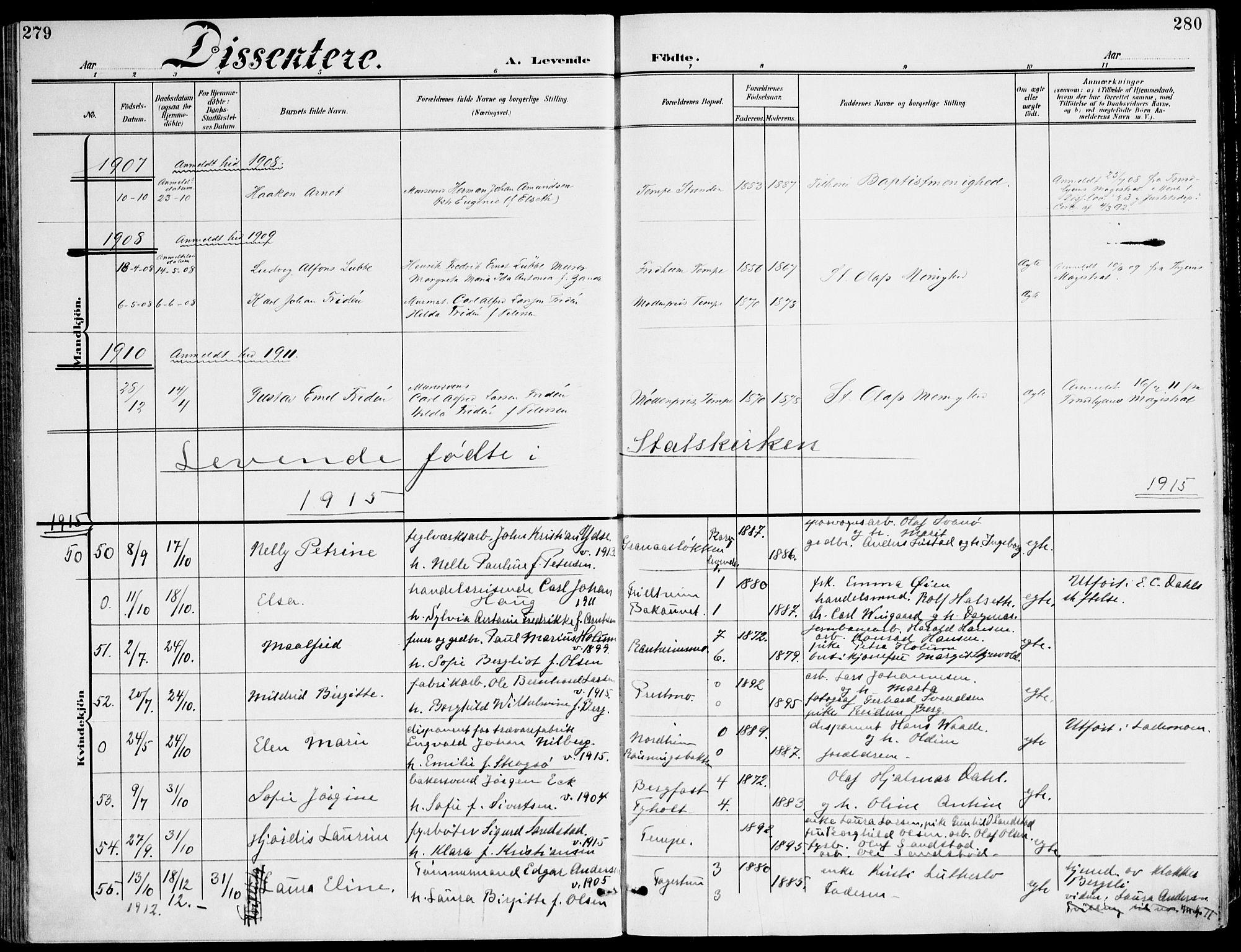 SAT, Ministerialprotokoller, klokkerbøker og fødselsregistre - Sør-Trøndelag, 607/L0320: Ministerialbok nr. 607A04, 1907-1915, s. 279-280