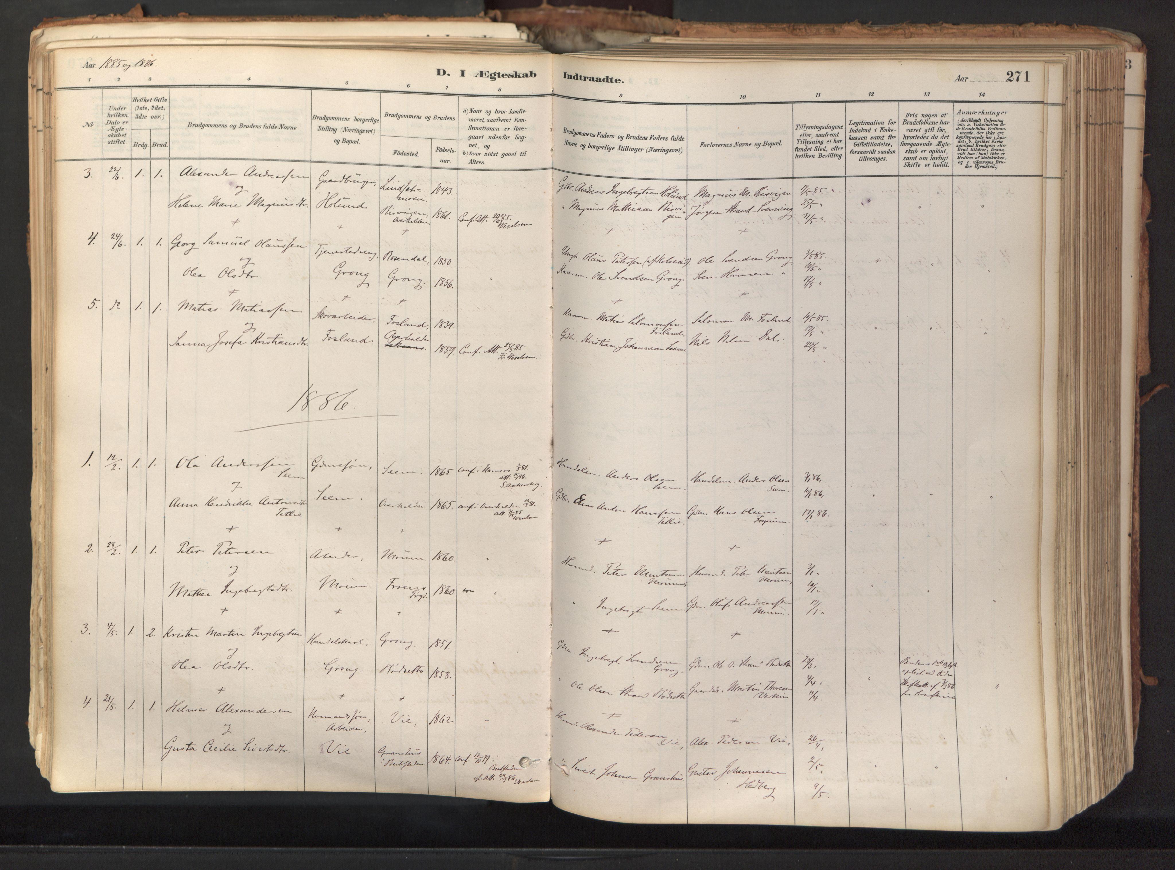 SAT, Ministerialprotokoller, klokkerbøker og fødselsregistre - Nord-Trøndelag, 758/L0519: Ministerialbok nr. 758A04, 1880-1926, s. 271