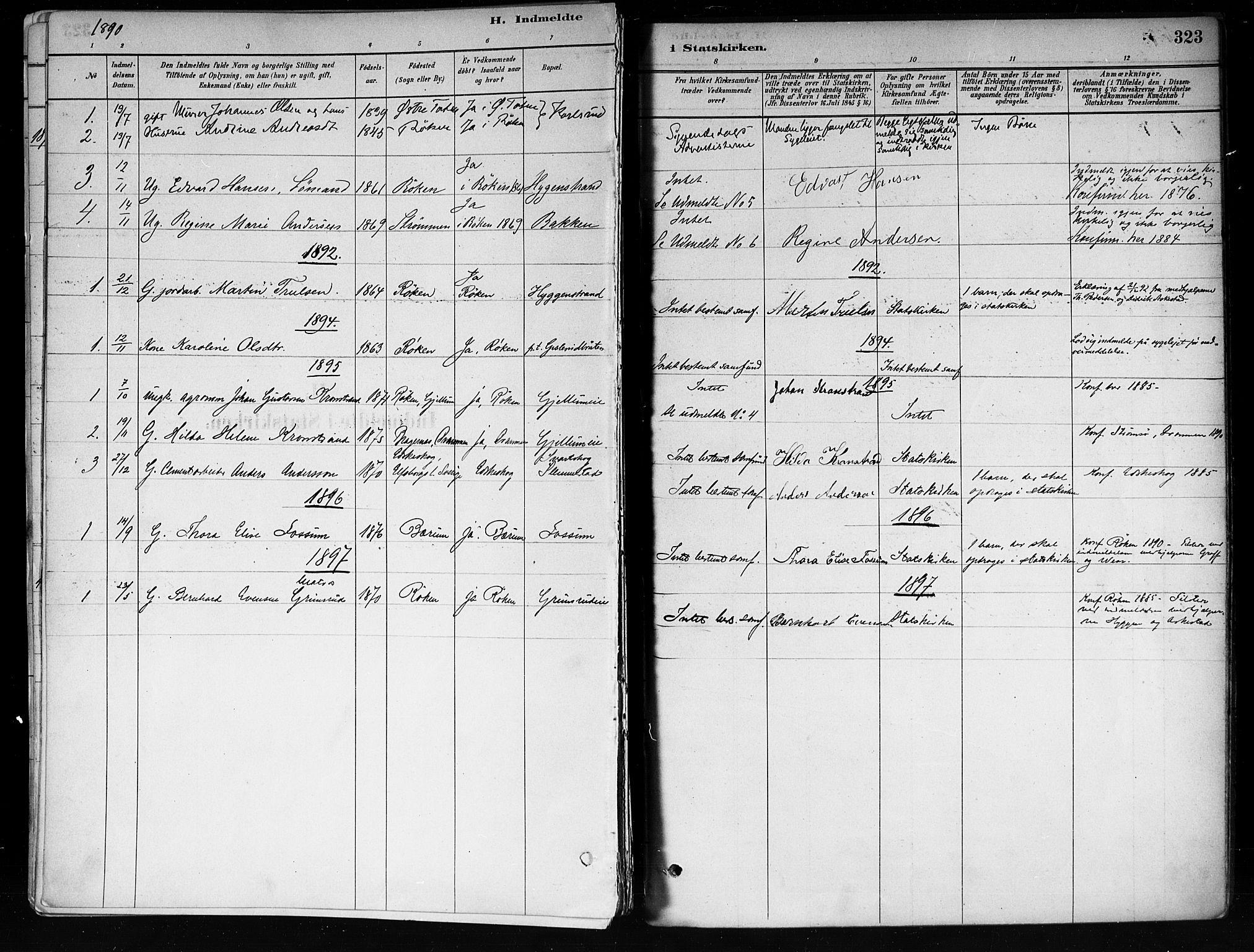 SAKO, Røyken kirkebøker, F/Fa/L0008: Ministerialbok nr. 8, 1880-1897, s. 323