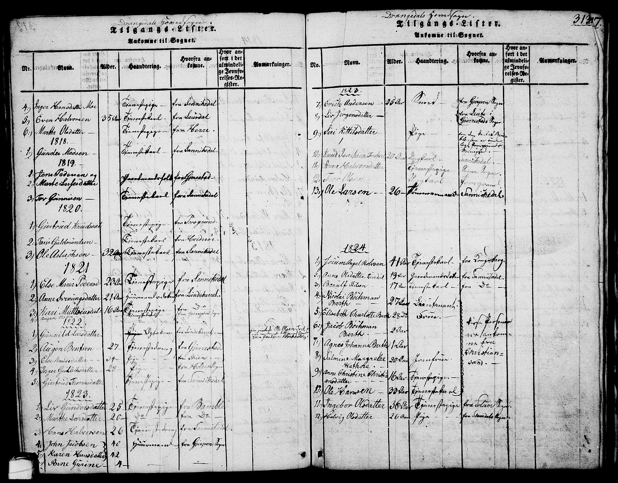 SAKO, Drangedal kirkebøker, G/Ga/L0001: Klokkerbok nr. I 1 /1, 1814-1856, s. 313