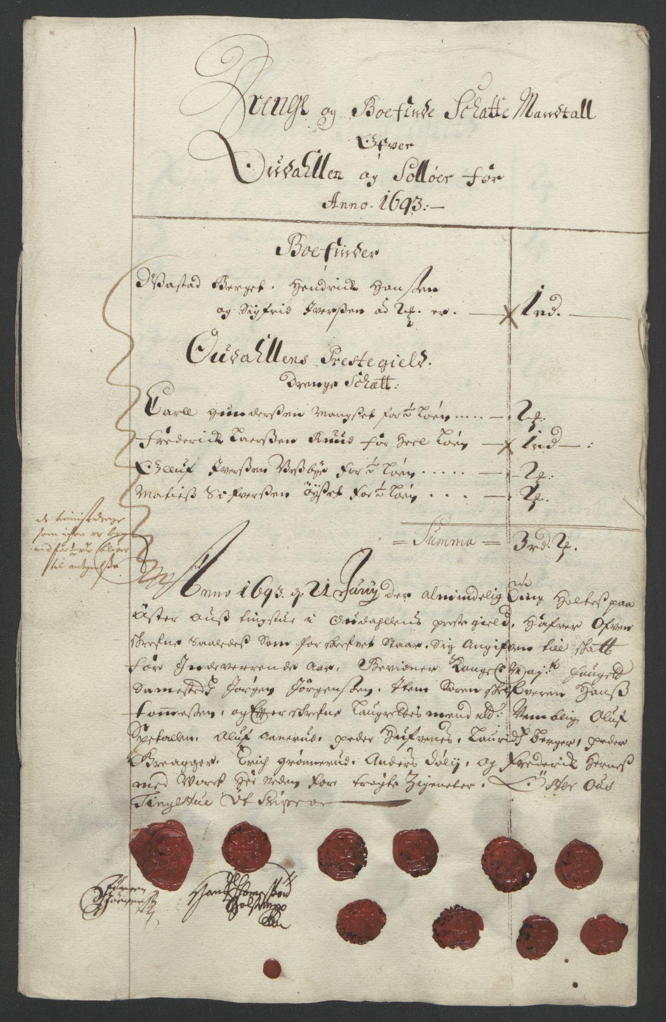 RA, Rentekammeret inntil 1814, Reviderte regnskaper, Fogderegnskap, R13/L0831: Fogderegnskap Solør, Odal og Østerdal, 1693, s. 240