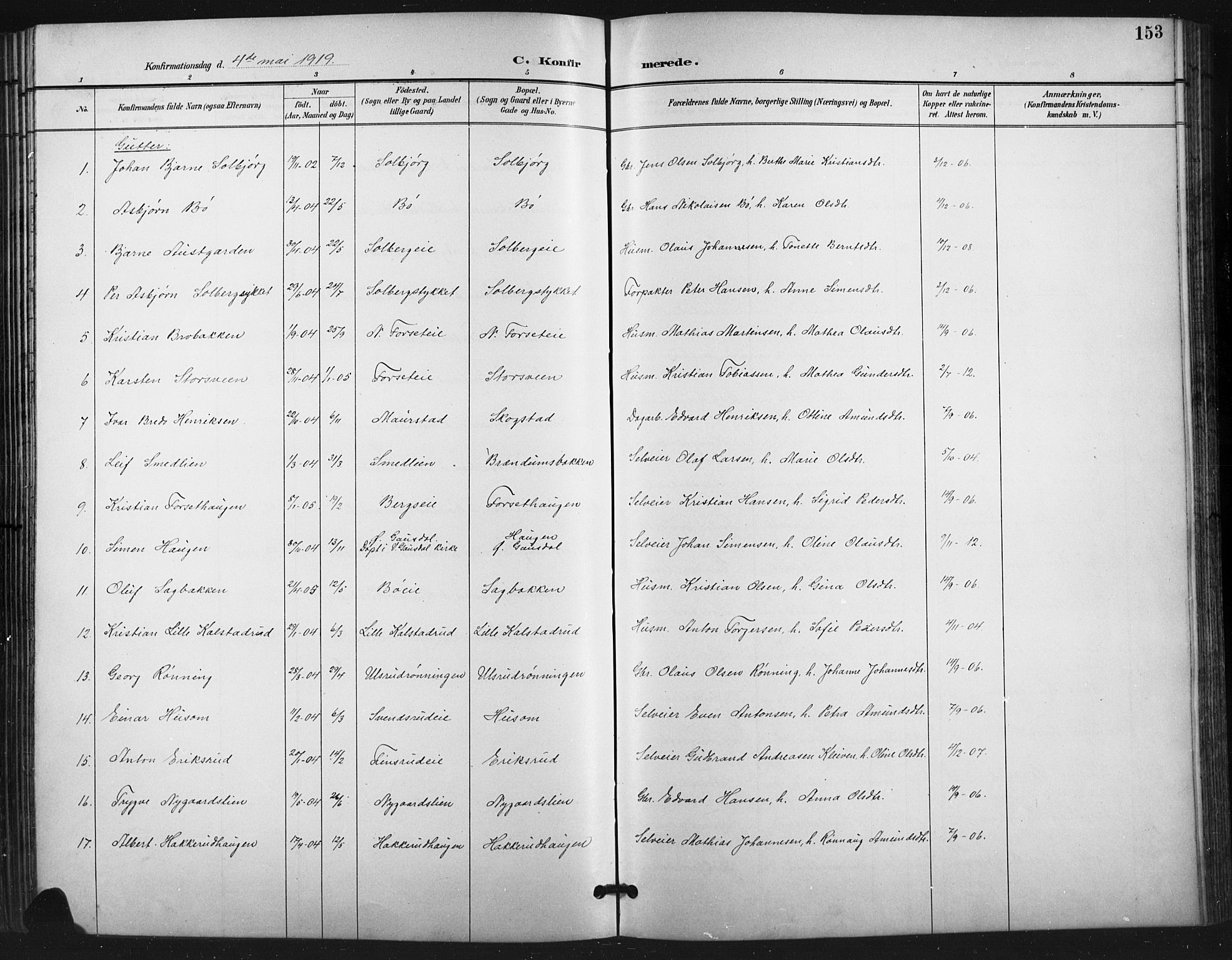 SAH, Vestre Gausdal prestekontor, Klokkerbok nr. 3, 1896-1925, s. 153