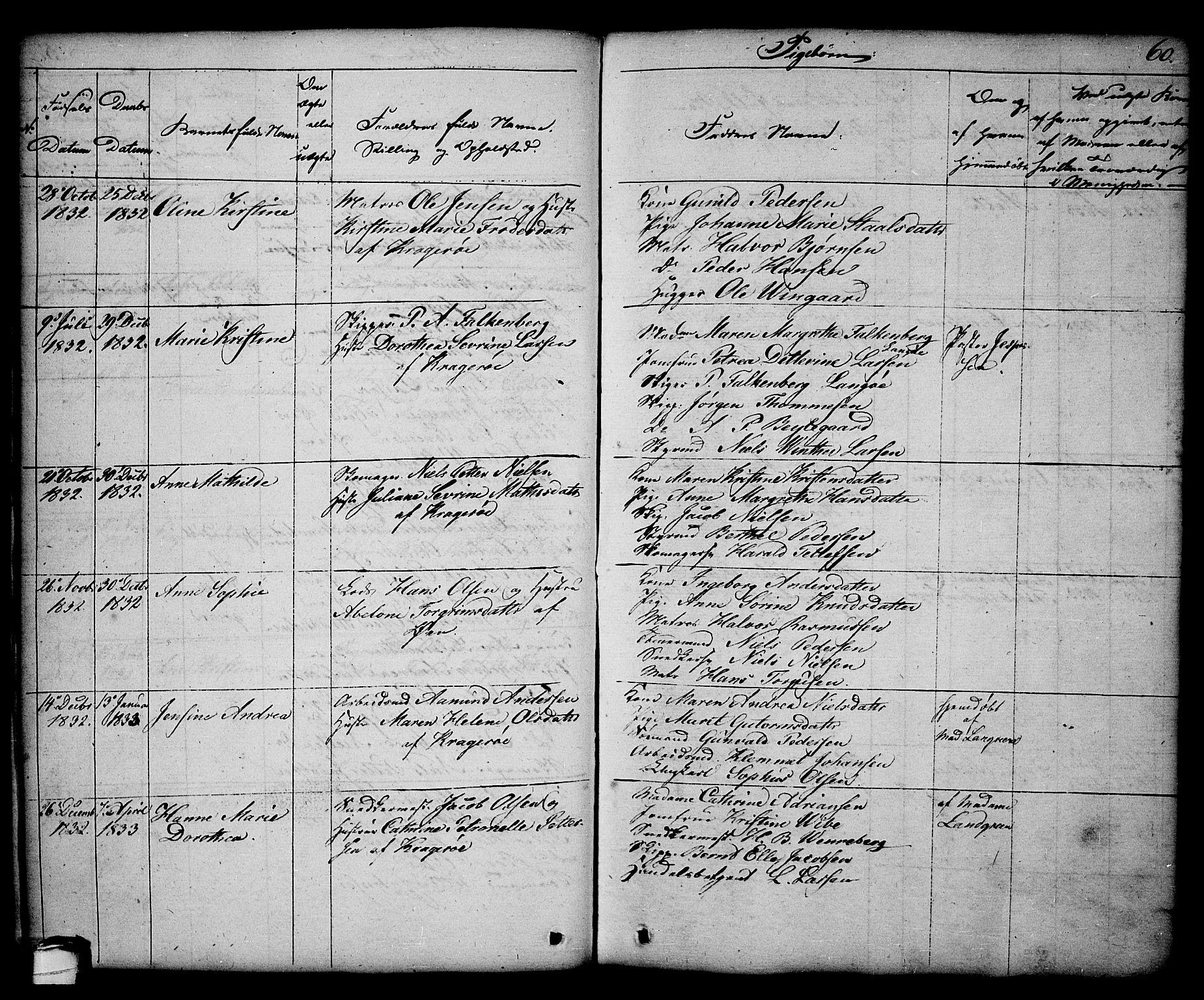 SAKO, Kragerø kirkebøker, G/Ga/L0003: Klokkerbok nr. 3, 1832-1852, s. 60