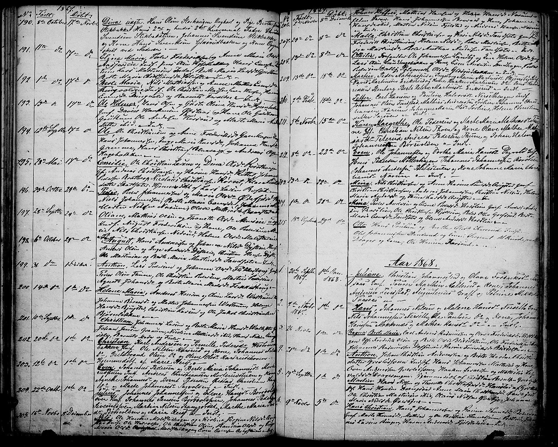 SAH, Vestre Toten prestekontor, H/Ha/Hab/L0005: Klokkerbok nr. 5, 1854-1870, s. 108