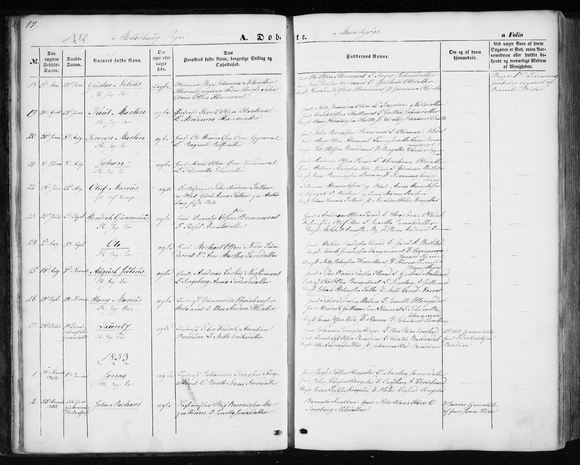 SAT, Ministerialprotokoller, klokkerbøker og fødselsregistre - Nord-Trøndelag, 717/L0154: Ministerialbok nr. 717A07 /1, 1850-1862, s. 17