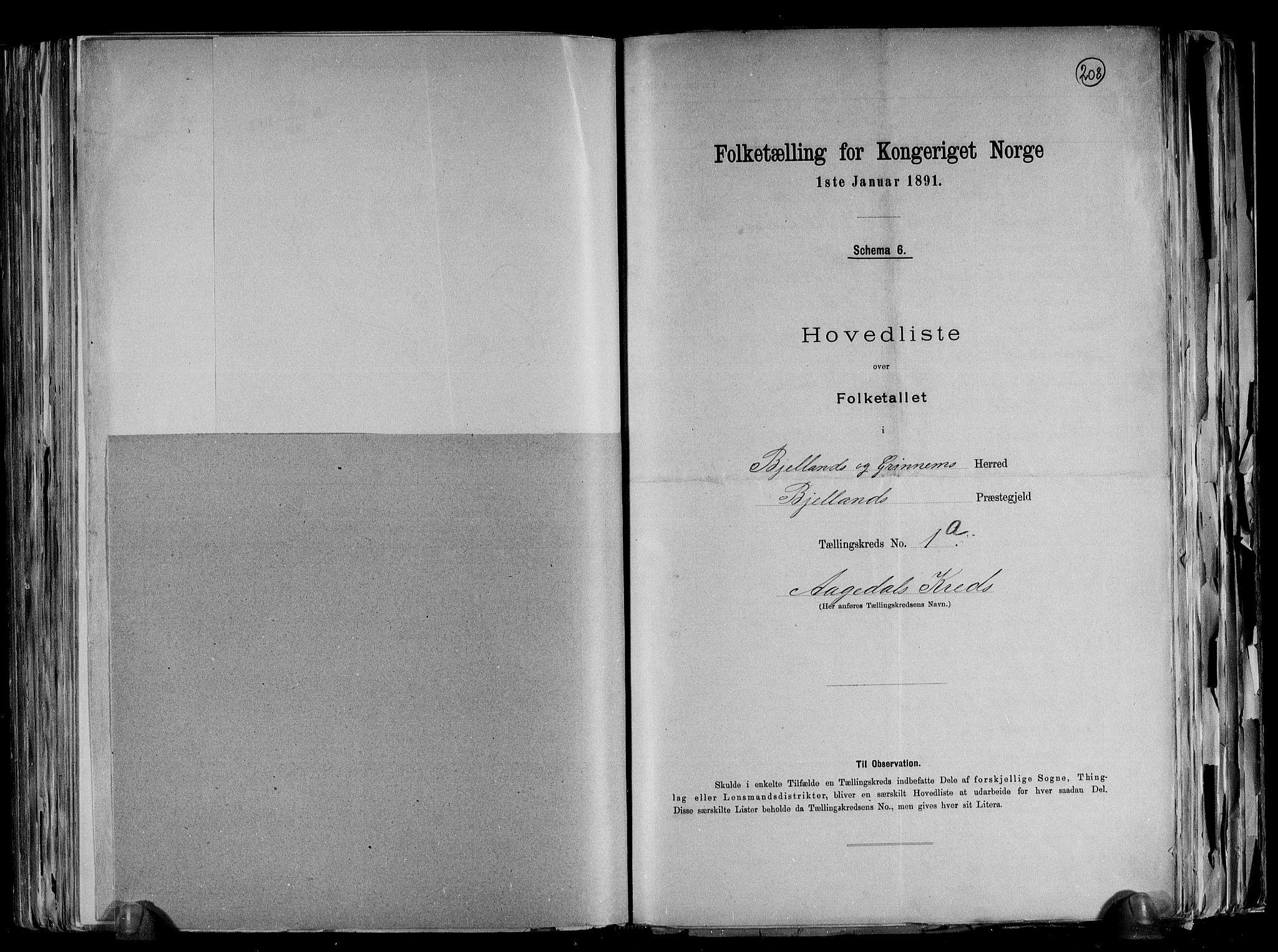 RA, Folketelling 1891 for 1024 Bjelland og Grindheim herred, 1891, s. 6