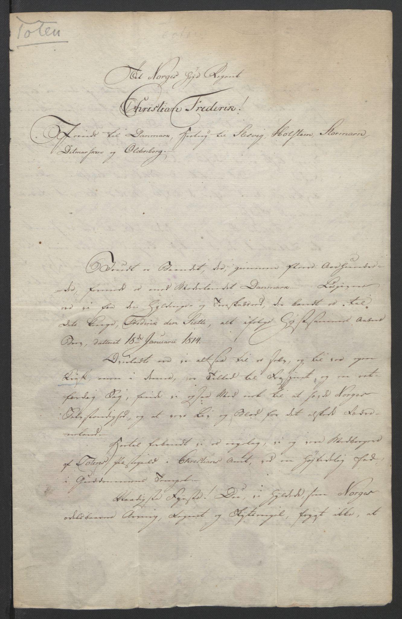 RA, Statsrådssekretariatet, D/Db/L0007: Fullmakter for Eidsvollsrepresentantene i 1814. , 1814, s. 287
