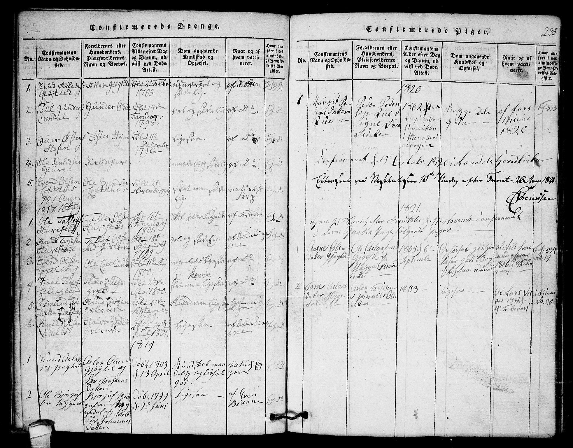 SAKO, Lårdal kirkebøker, G/Gb/L0001: Klokkerbok nr. II 1, 1815-1865, s. 235