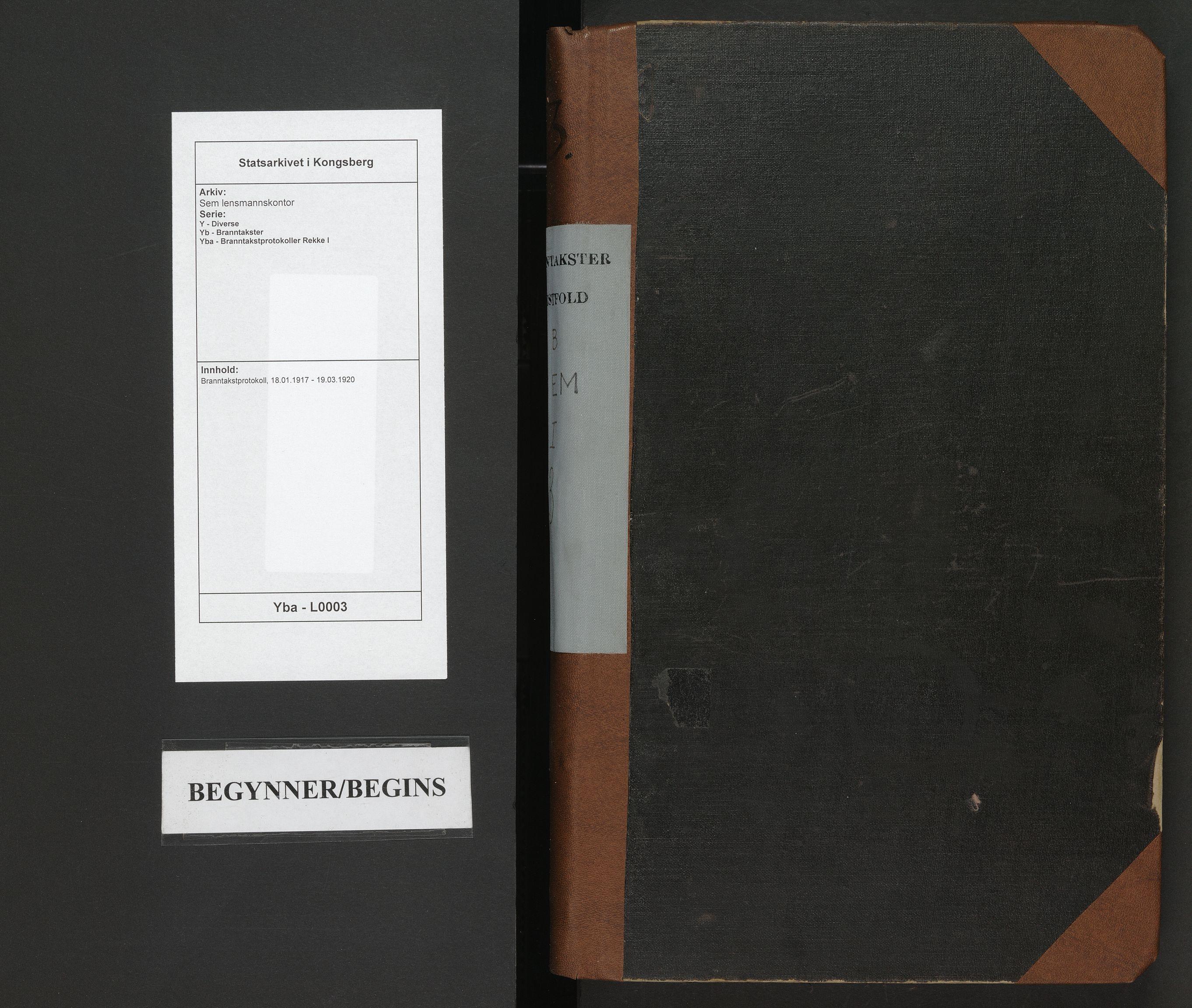 SAKO, Sem lensmannskontor, Y/Yb/Yba/L0003: Branntakstprotokoll, 1917-1920