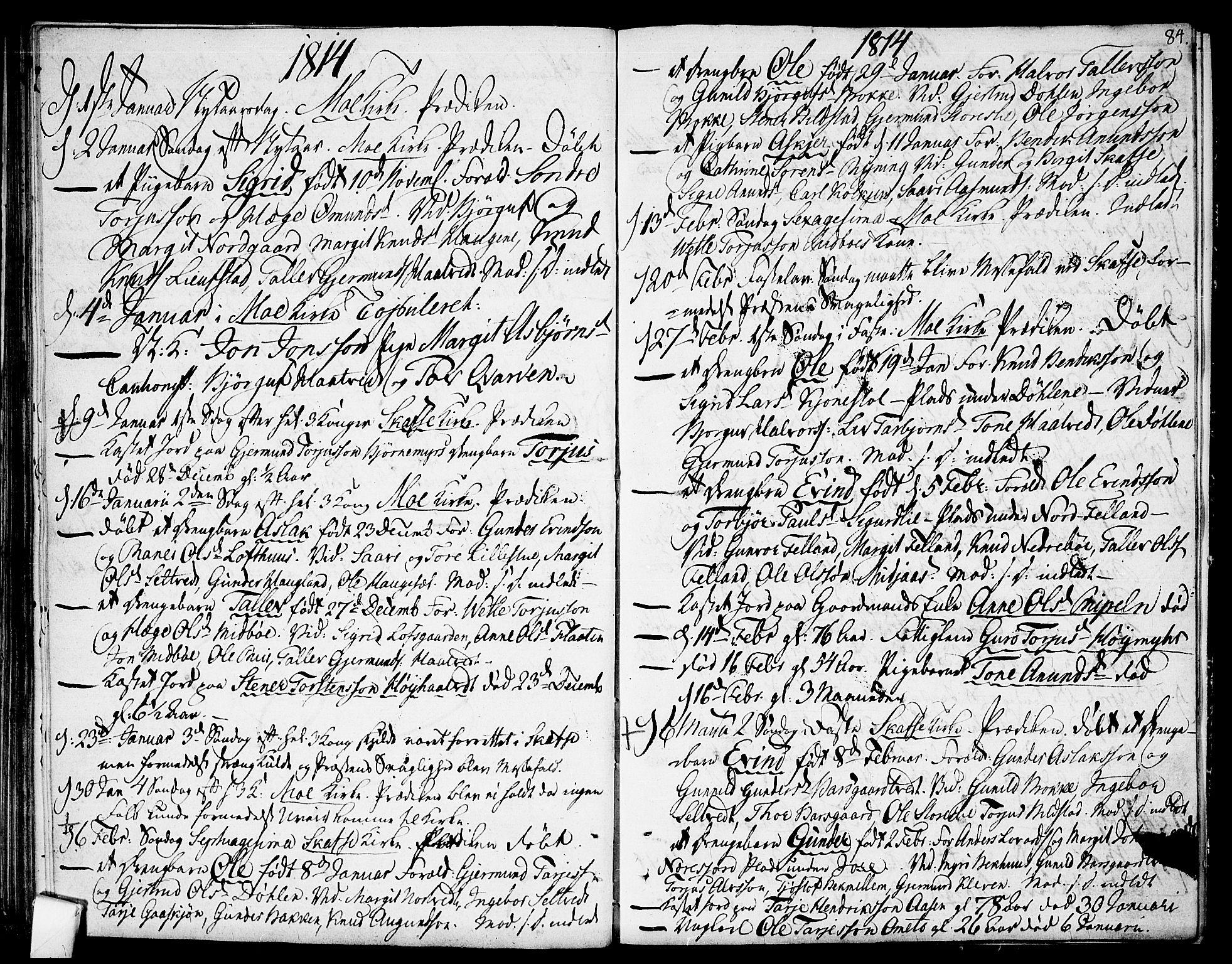 SAKO, Mo kirkebøker, F/Fa/L0003: Ministerialbok nr. I 3, 1800-1814, s. 84