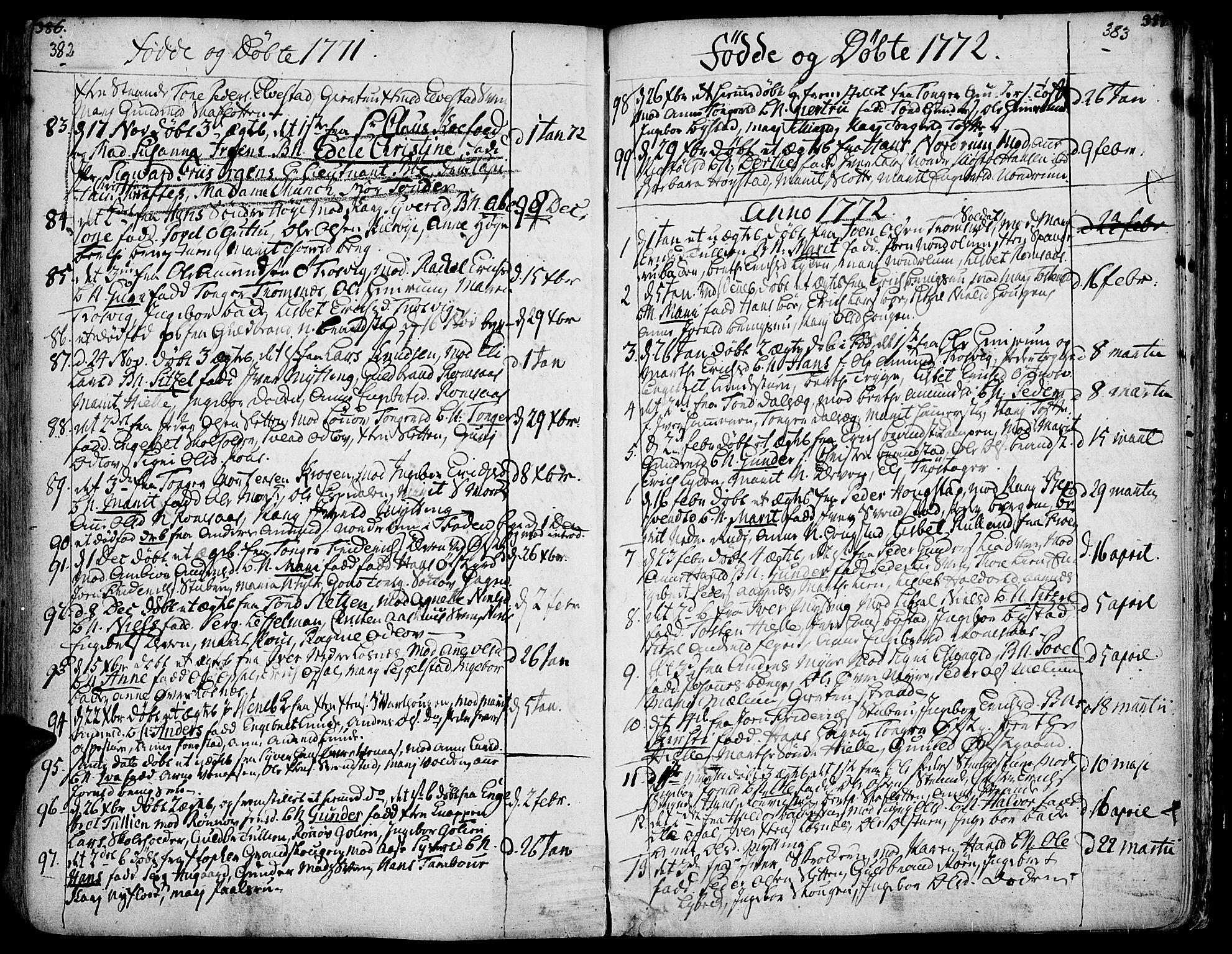 SAH, Ringebu prestekontor, Ministerialbok nr. 2, 1734-1780, s. 382-383