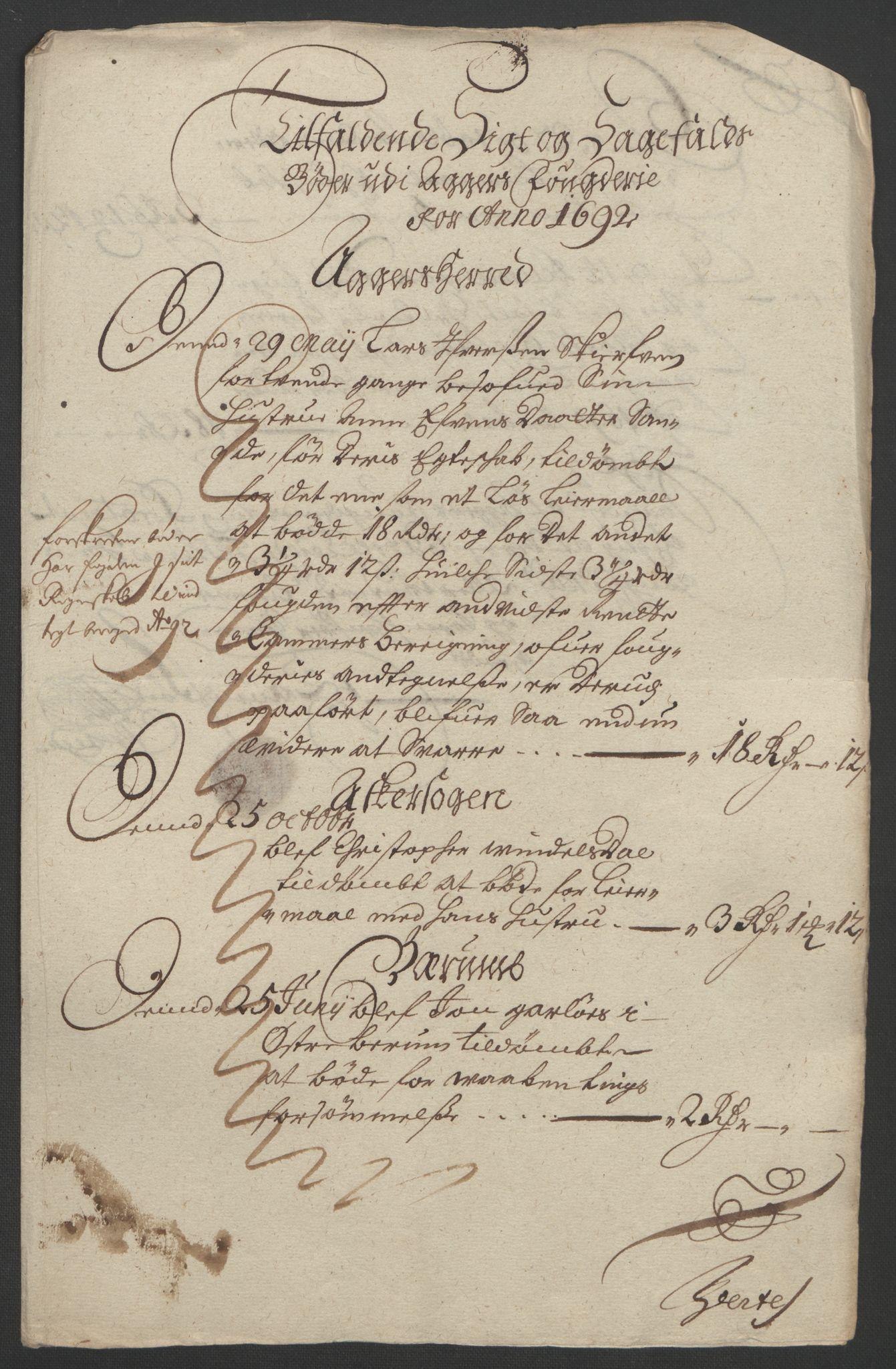 RA, Rentekammeret inntil 1814, Reviderte regnskaper, Fogderegnskap, R08/L0426: Fogderegnskap Aker, 1692-1693, s. 83