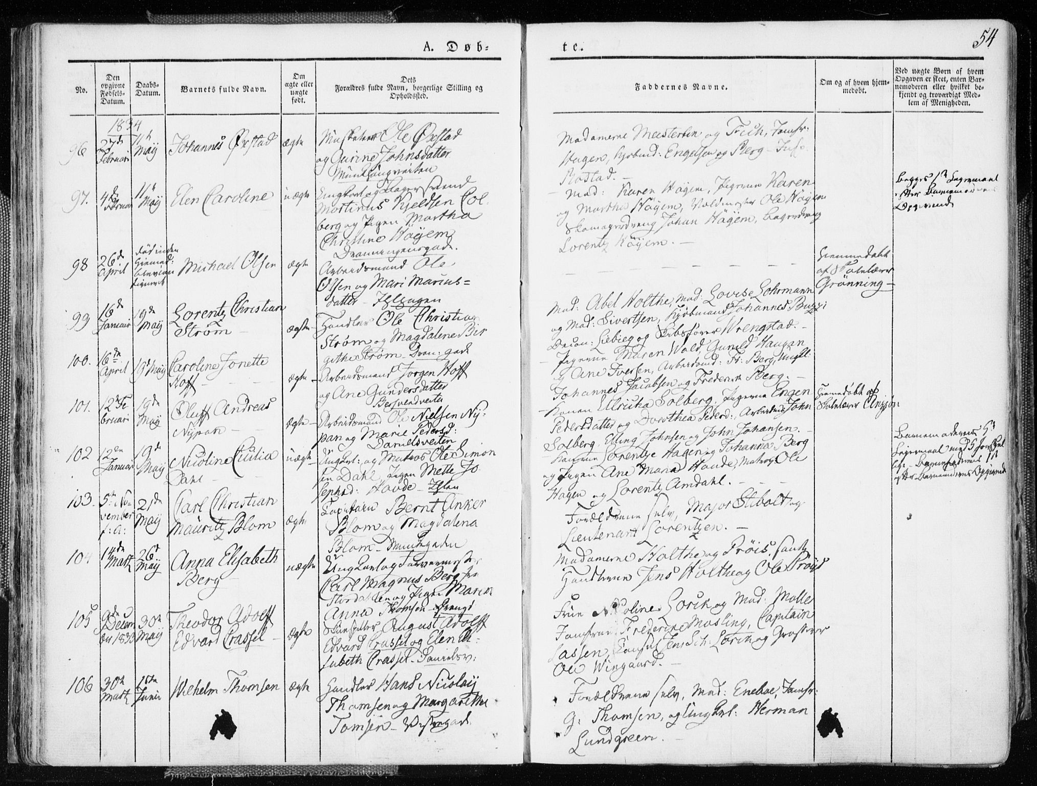 SAT, Ministerialprotokoller, klokkerbøker og fødselsregistre - Sør-Trøndelag, 601/L0047: Ministerialbok nr. 601A15, 1831-1839, s. 54