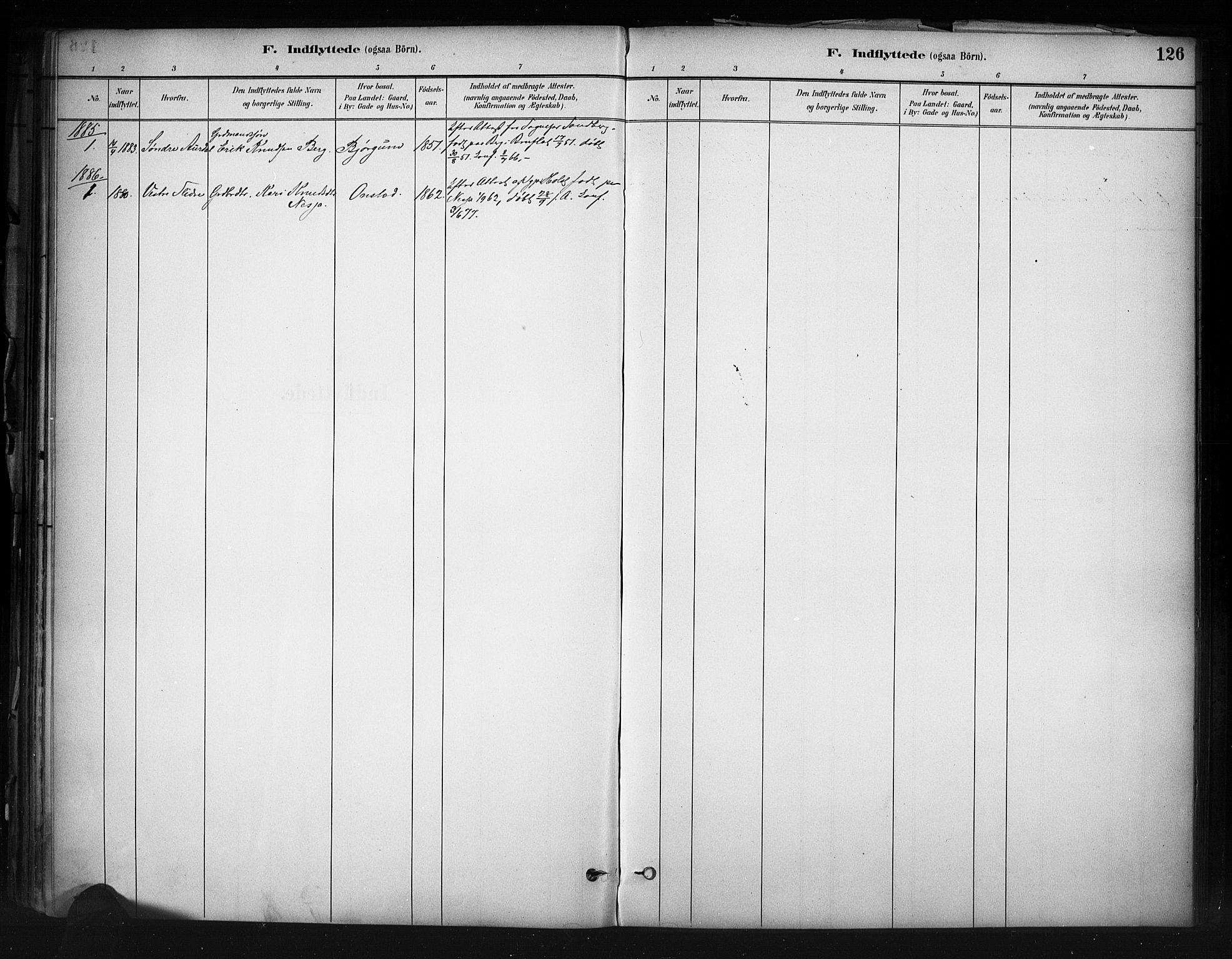 SAH, Nord-Aurdal prestekontor, Ministerialbok nr. 13, 1883-1895, s. 126